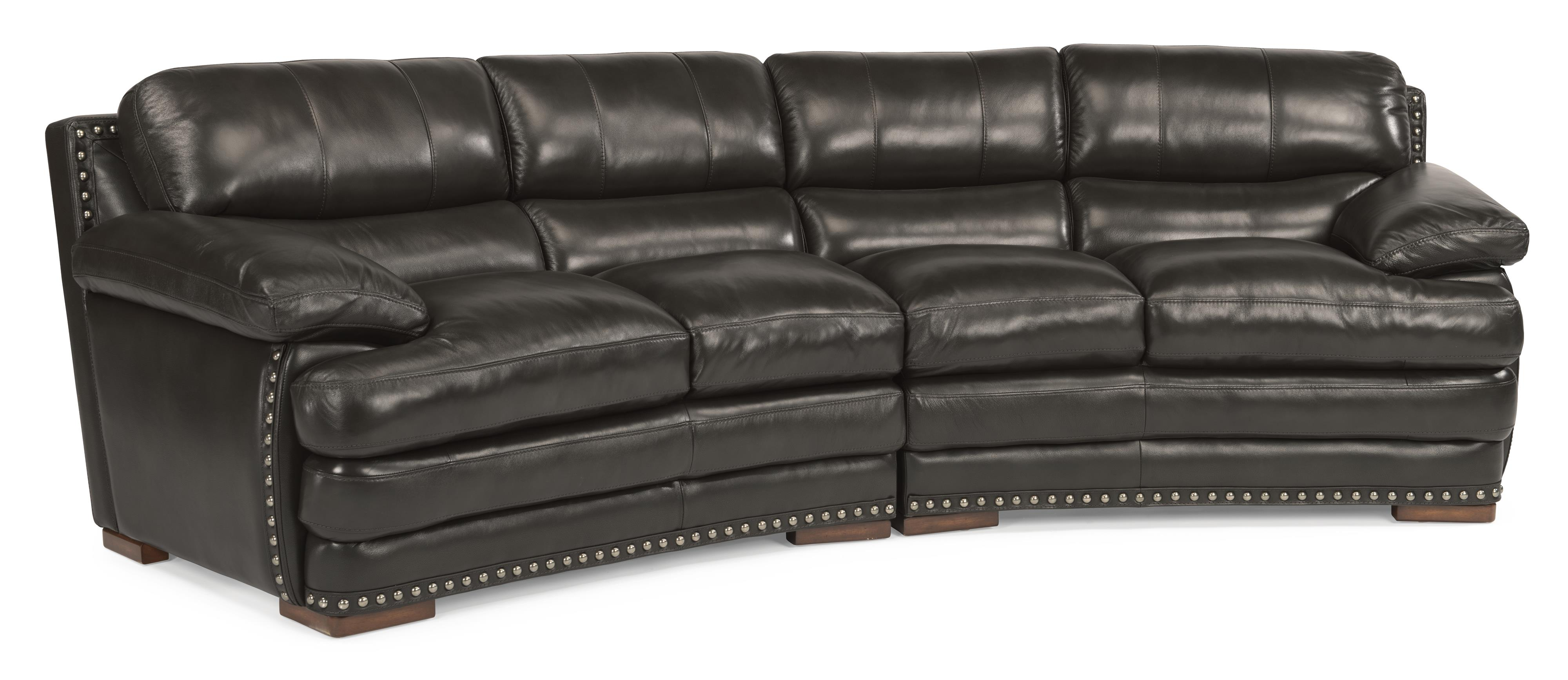 Flexsteel Latitudes - Dylan Leather Conversation Sofa w/ Nailheads - Item Number: 1627-325+326-908-01