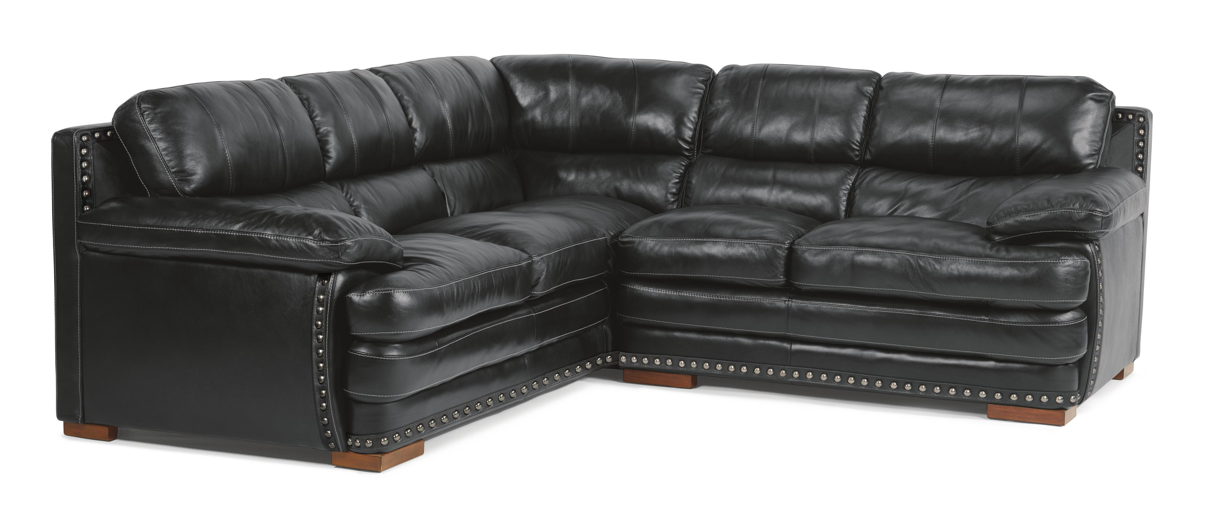 Flexsteel Latitudes - Dylan Sectional with Armless Chair & Nailheads - Item Number: 1627-33+19+28-704-00