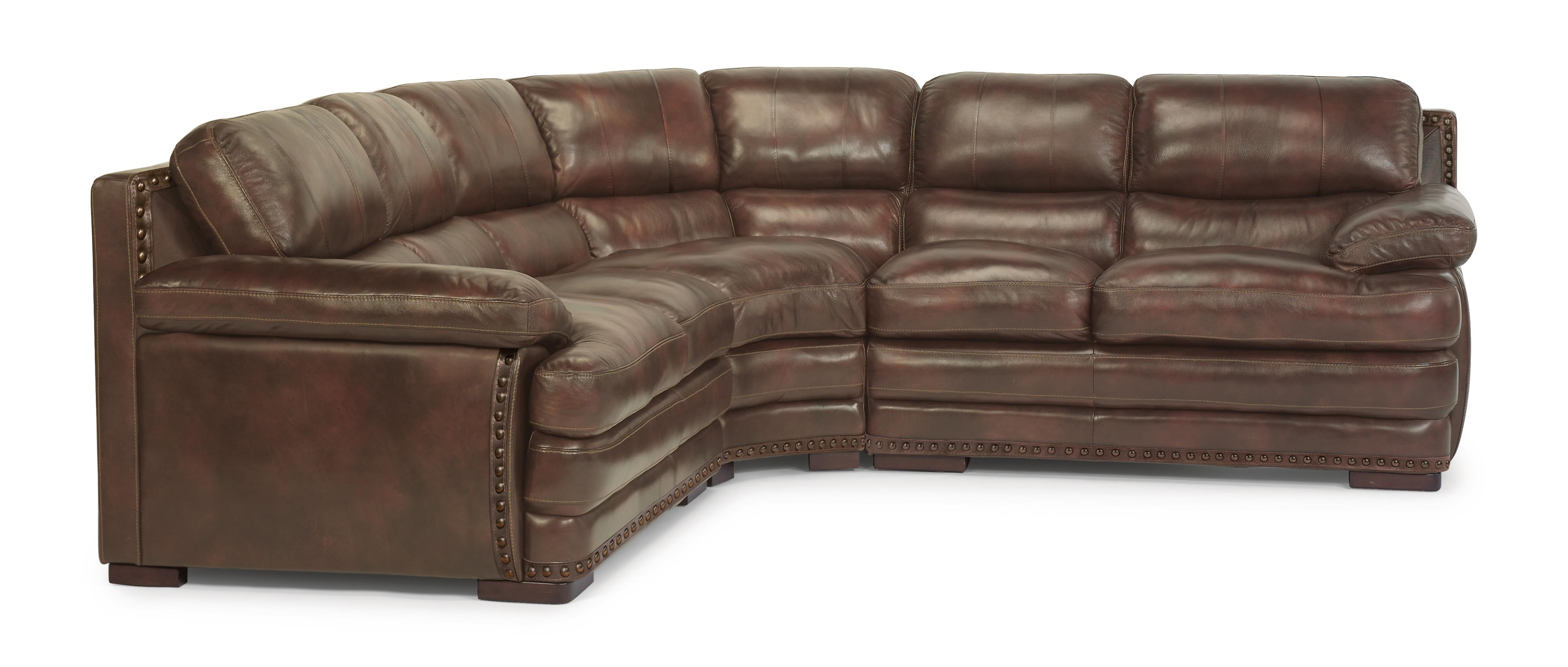 Flexsteel Latitudes - Dylan Sectional with Armless Chair & Nailheads - Item Number: 1627-33+19+28-908-72