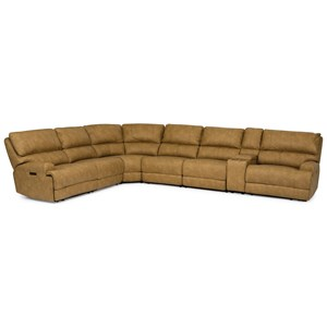 Casual 7-Piece Power Sectional with Power Headrests and USB Ports