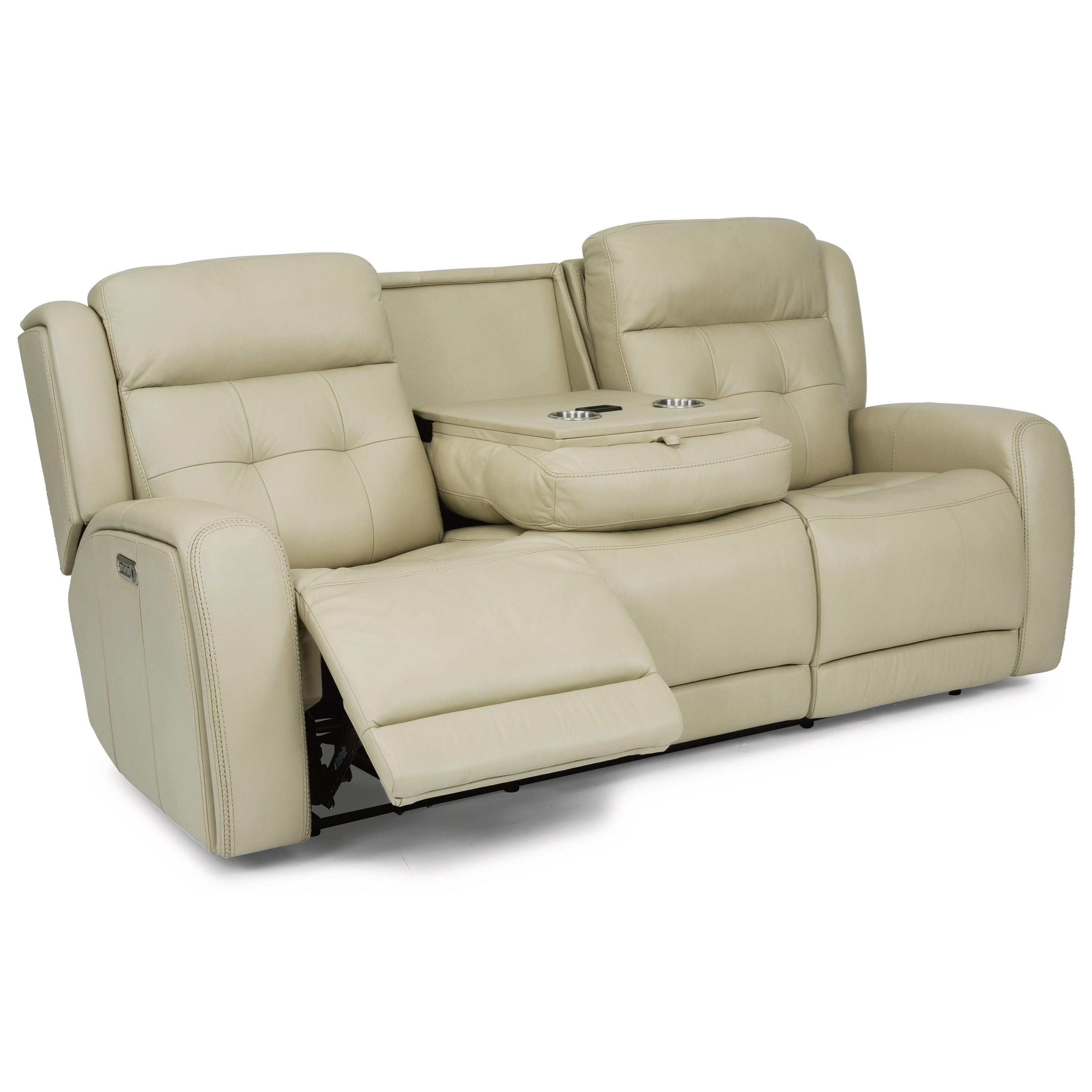Latitudes - Grant Power Leather Match Reclining Sofa by Flexsteel at Wilcox Furniture