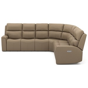 Casual 3-Piece Sectional Sofa with Power Headrest