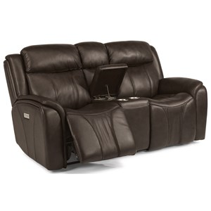 Flexsteel Latitudes - Paisley Power Reclining Loveseat with Console