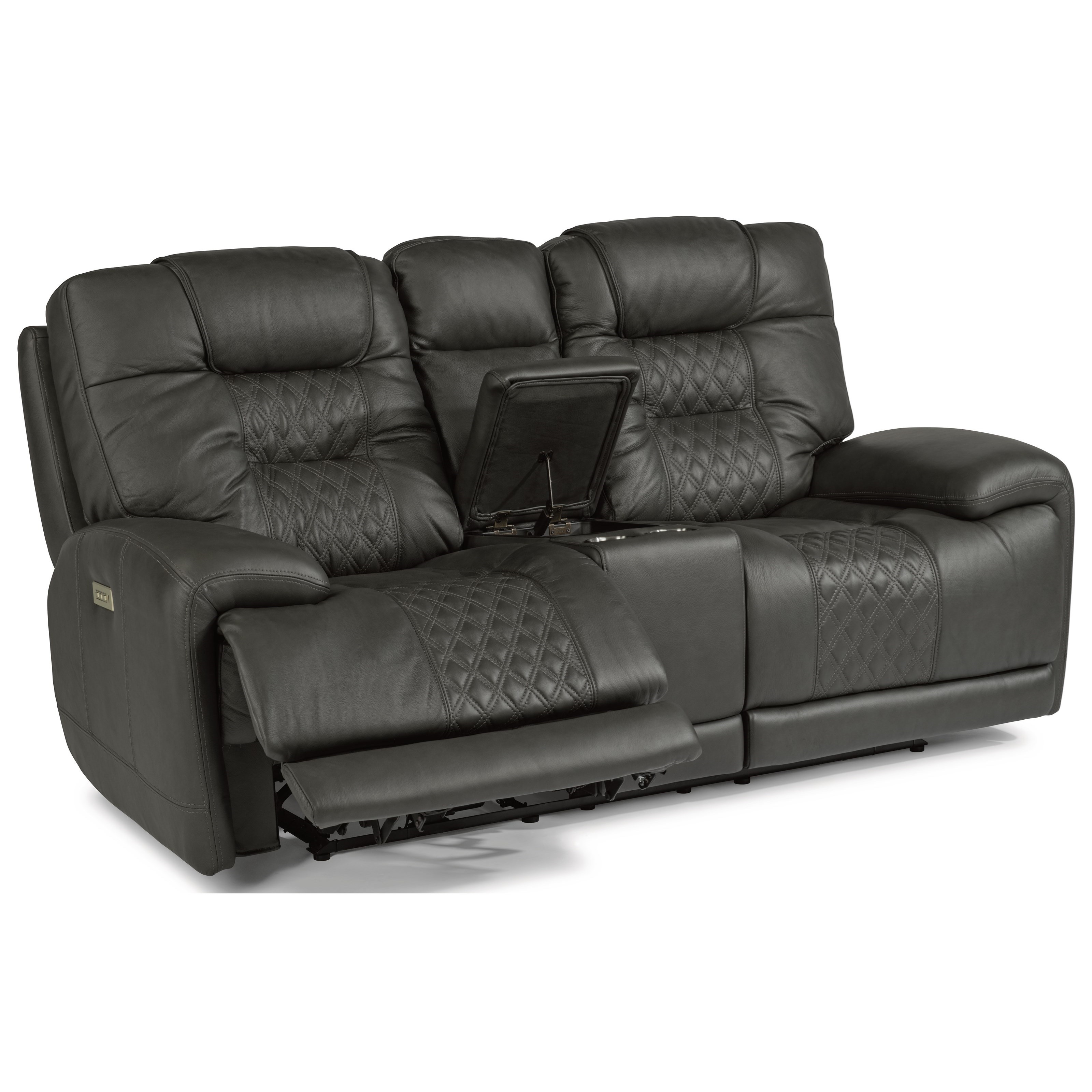 Latitudes - Royce Power Reclining Loveseat with Console by Flexsteel at Walker's Furniture