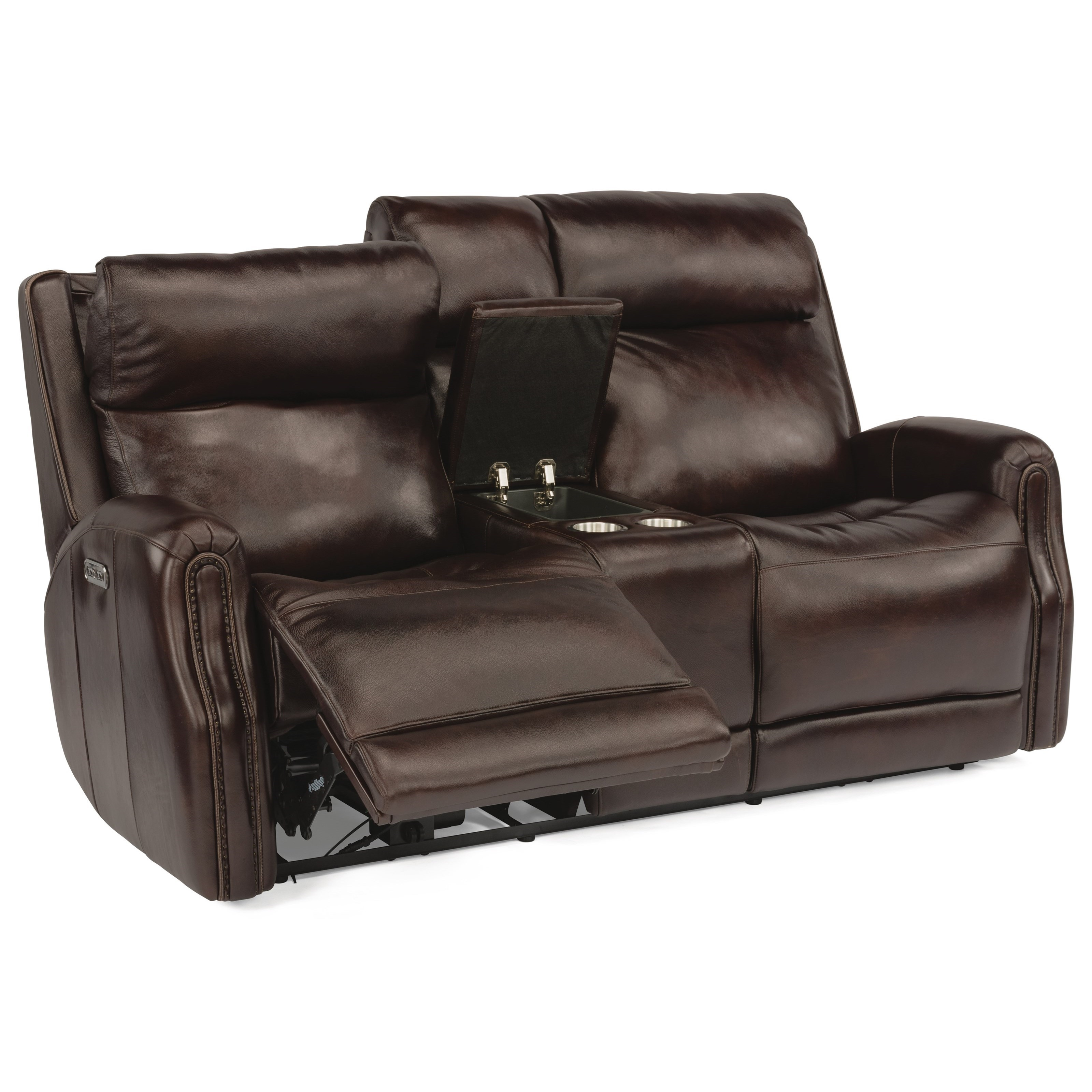 Latitudes - Stanley Power Reclining Leather Console Loveseat by Flexsteel at Walker's Furniture