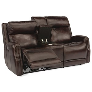 Power Reclining Leather Console Loveseat