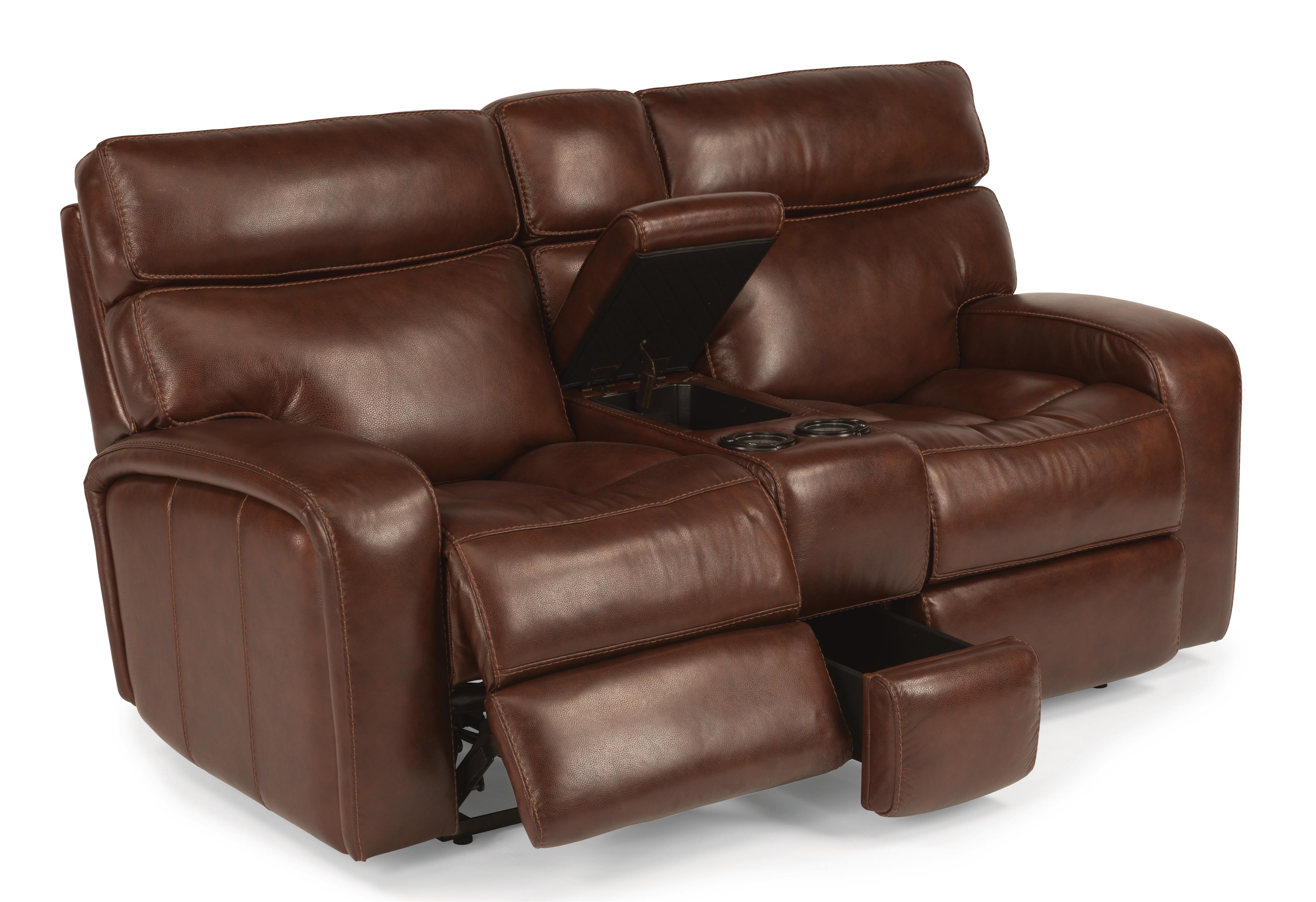 Flexsteel Latitudes - Bixby Power Gliding Reclining Loveseat w/ Console - Item Number: 1129-604P