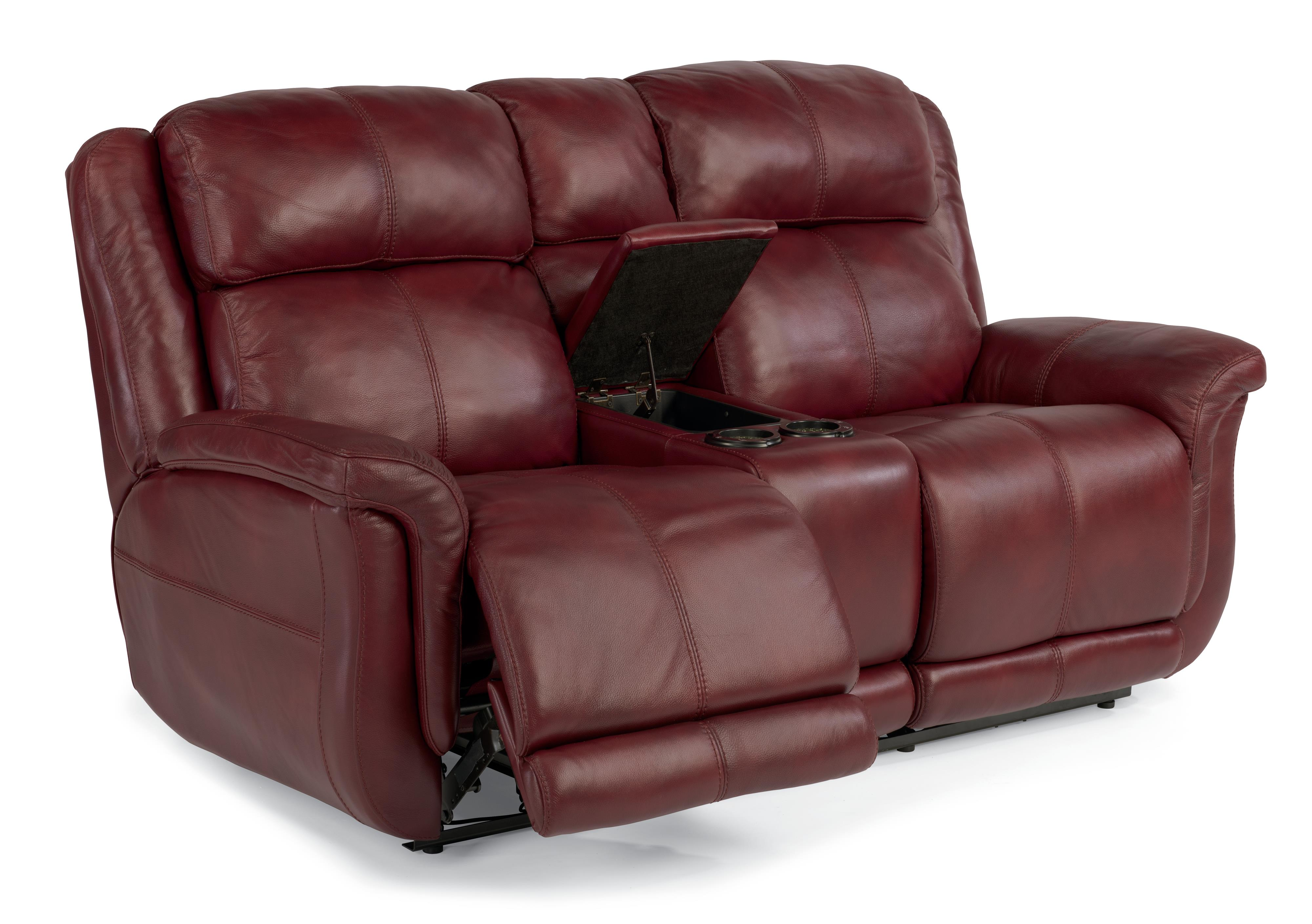 Flexsteel Latitudes-Brookings Power Reclining Loveseat w/ Console - Item Number: 1251-604P-LSP-60