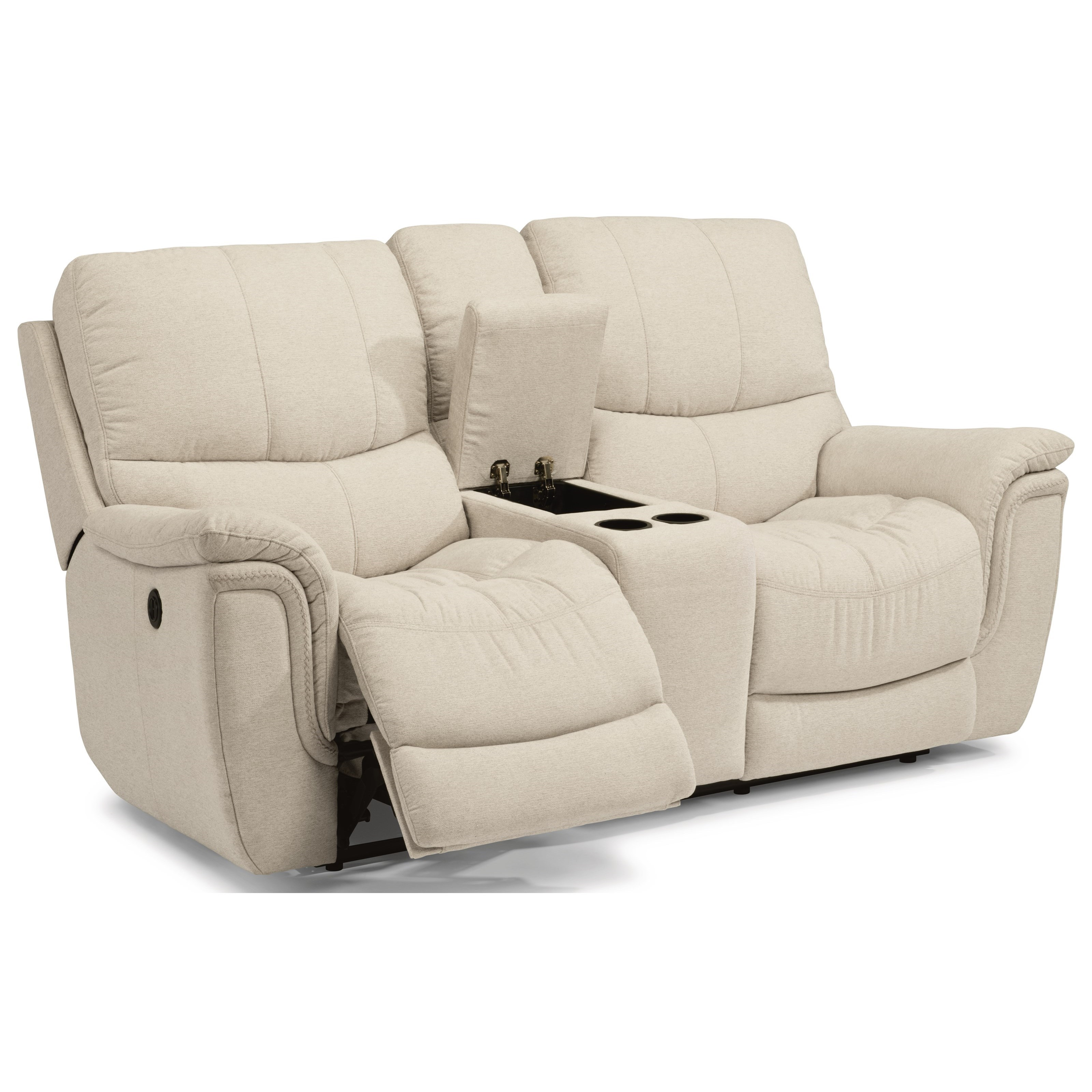 Flexsteel latitudes coco casual power reclining loveseat with console cup holders and usb ports Loveseat with cup holders