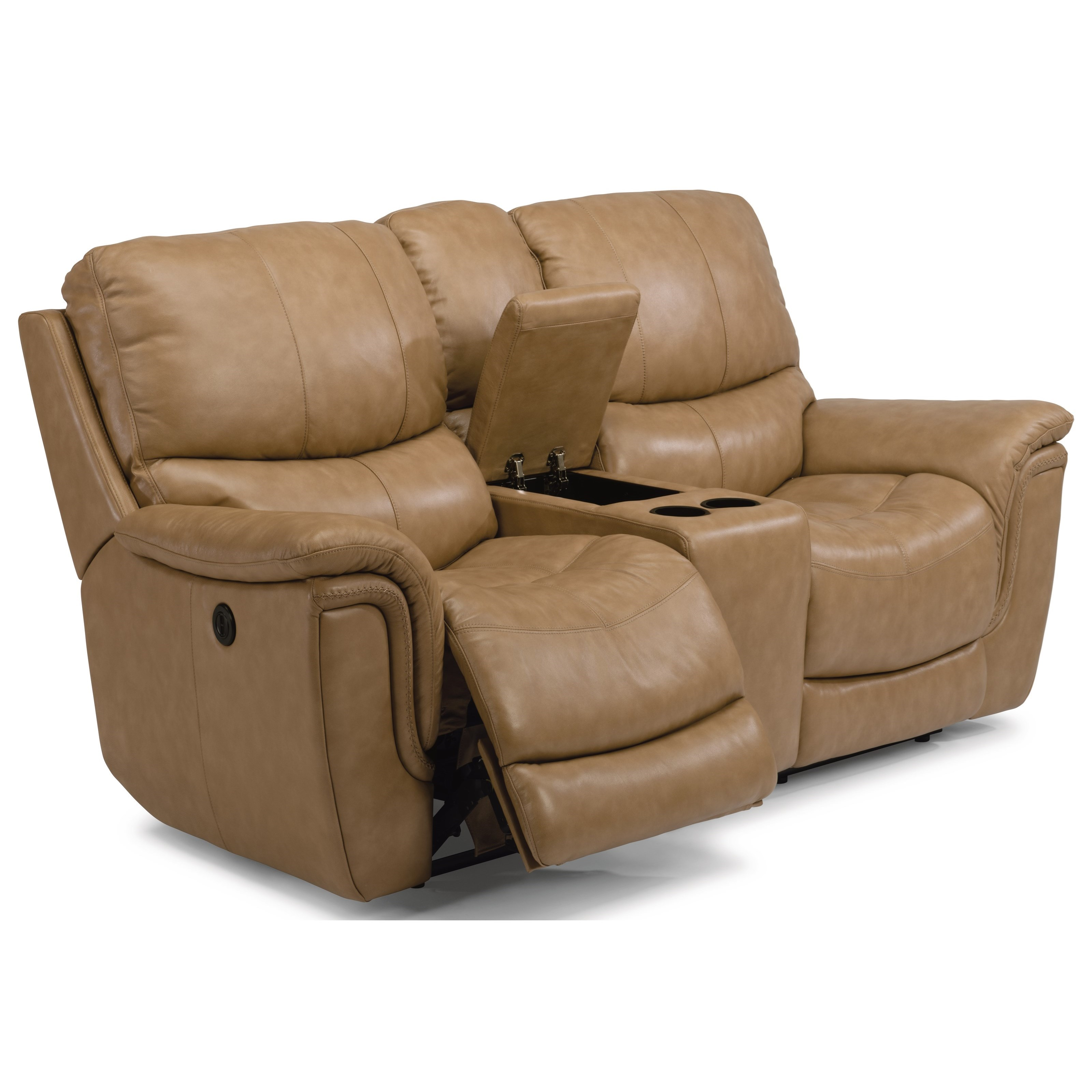 Flexsteel Latitudes Coco Casual Power Reclining Loveseat With Console Cup Holders And Usb Ports