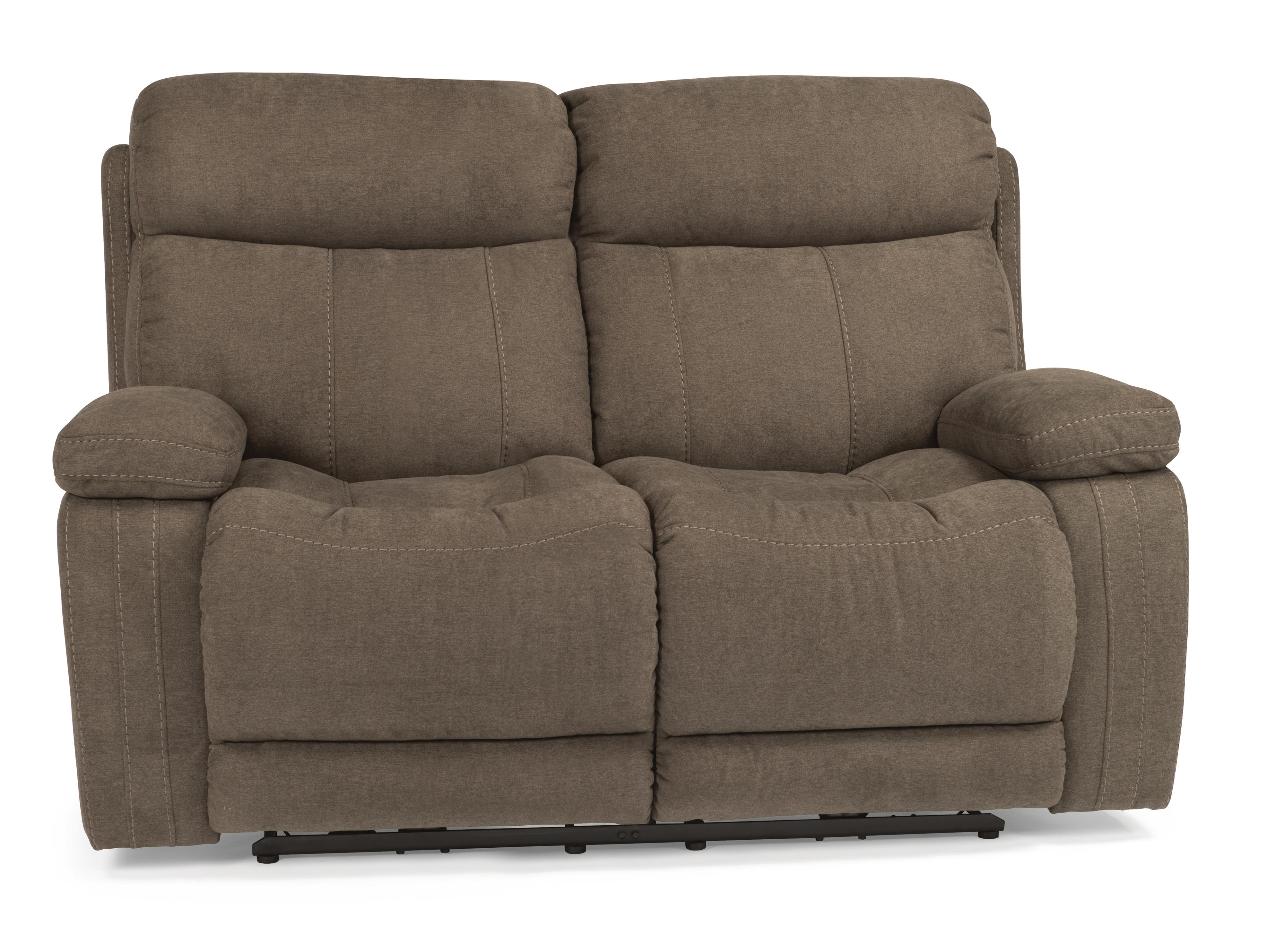 Flexsteel Latitudes Danika Casual Power Reclining Loveseat With Contrast Topstitching Dubois Furniture Love Seats Waco Temple Killeen Texas