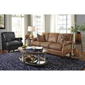 Flexsteel Latitudes-Exton Leather Sofa with Rolled Arms - Pillows Sold Separately