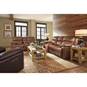 Flexsteel Latitudes-Fenwick Power Reclining Sofa with Power Tilt Headrest and USB Port
