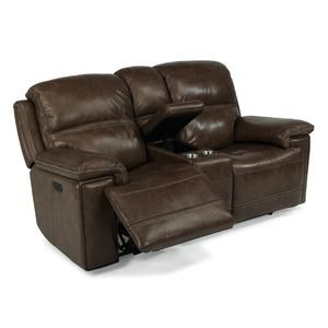 Flexsteel Latitudes-Fenwick Recliner Leather Power Console Loveseat w/ P