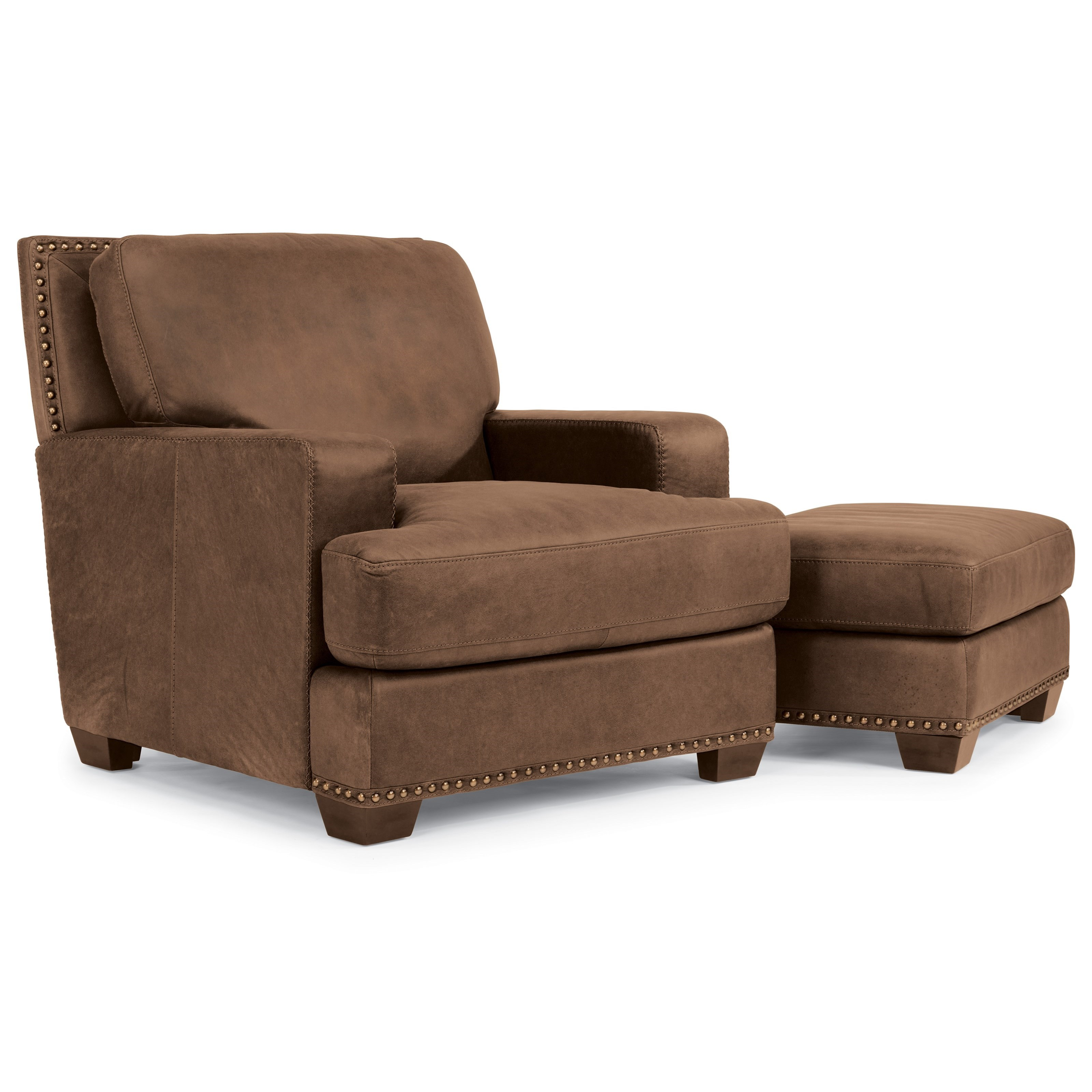 Flexsteel Latitudes-Fremont Leather Chair and Ottoman - Item Number: 1324-10+08