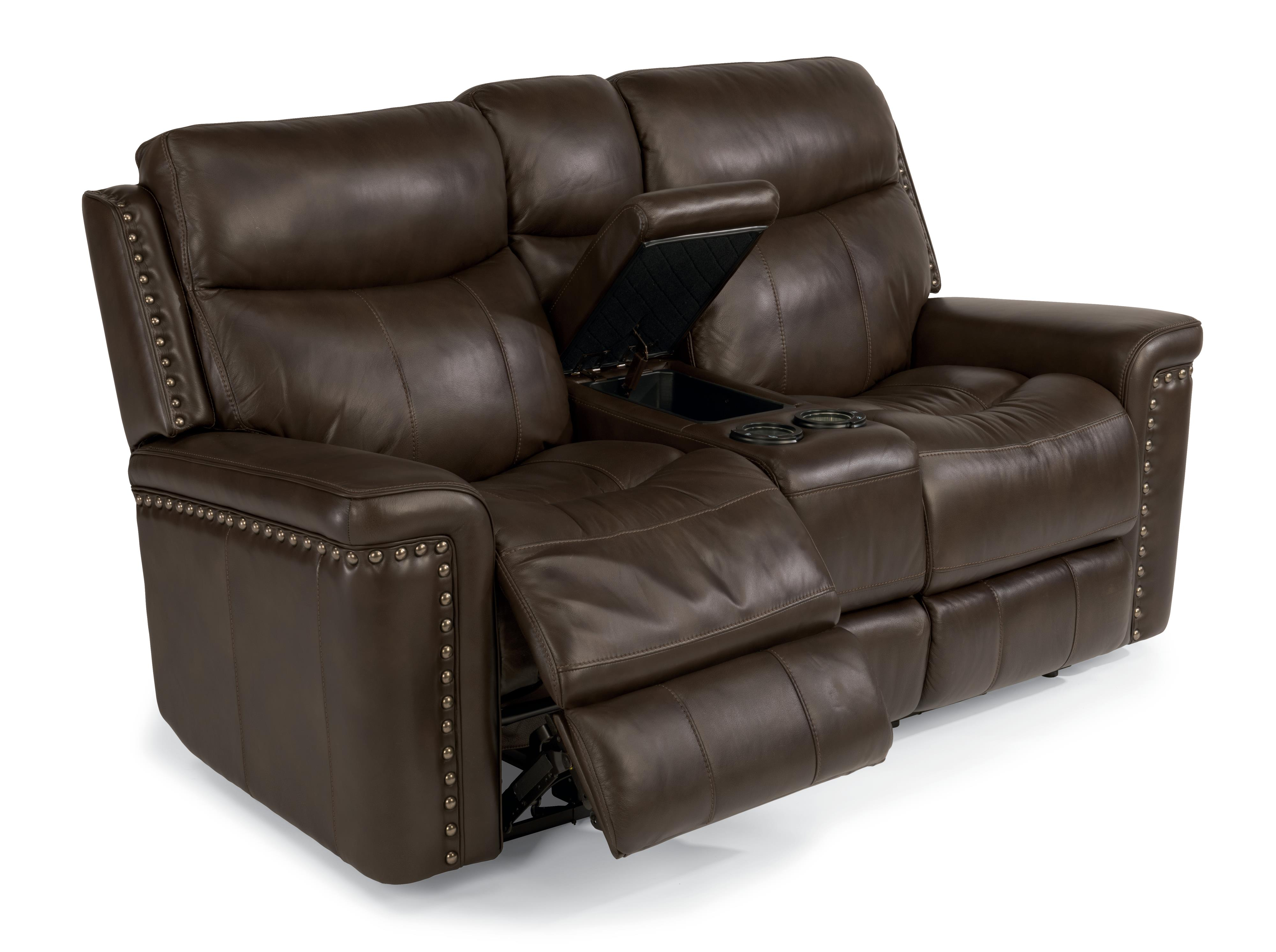 Flexsteel Latitudes-Grover Power Reclining Love Seat with Console - Item Number: 1339-604P-014-74