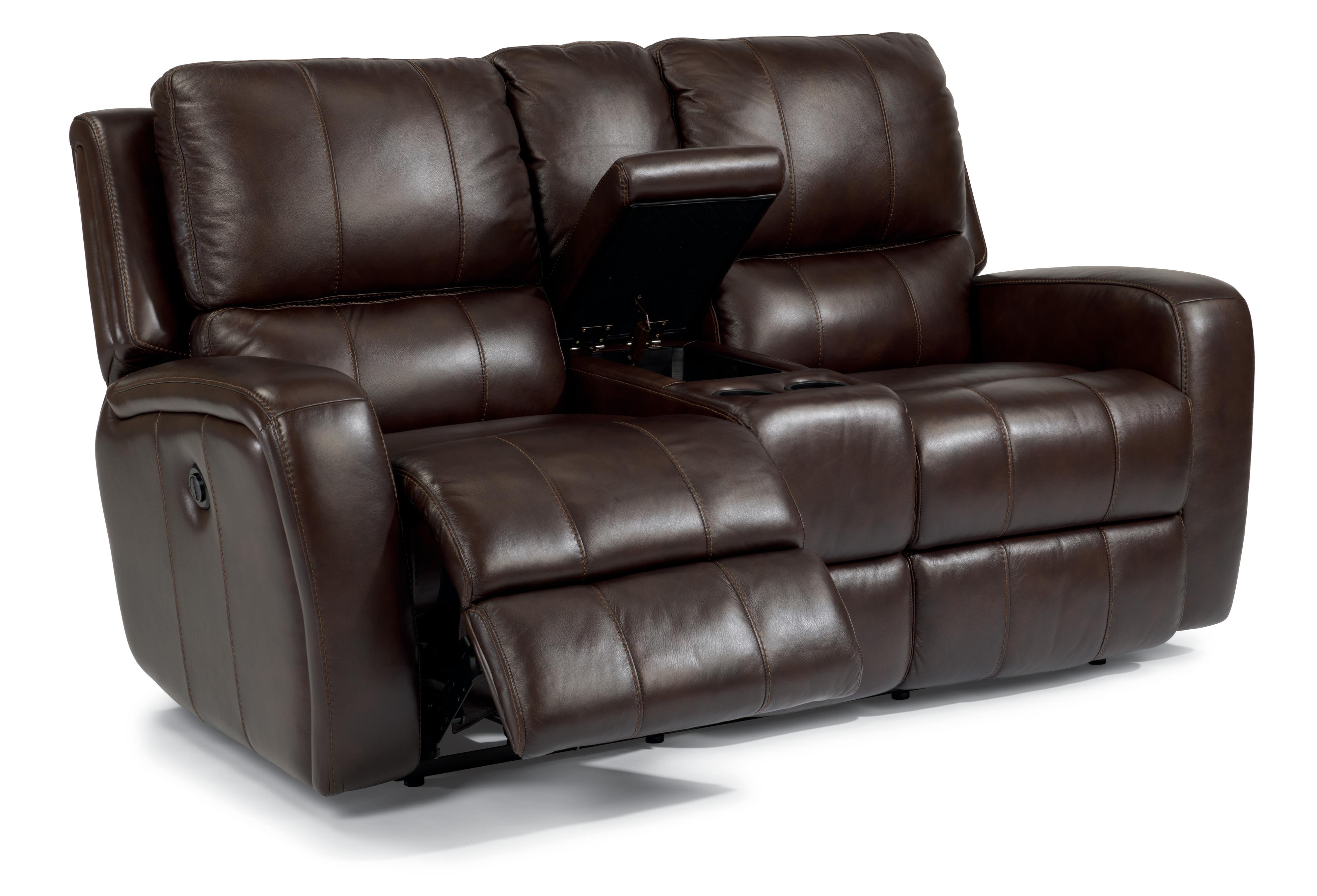 Flexsteel Latitudes-Hammond Power Reclining Love Seat with Console - Item Number: 1157-604P-555-72