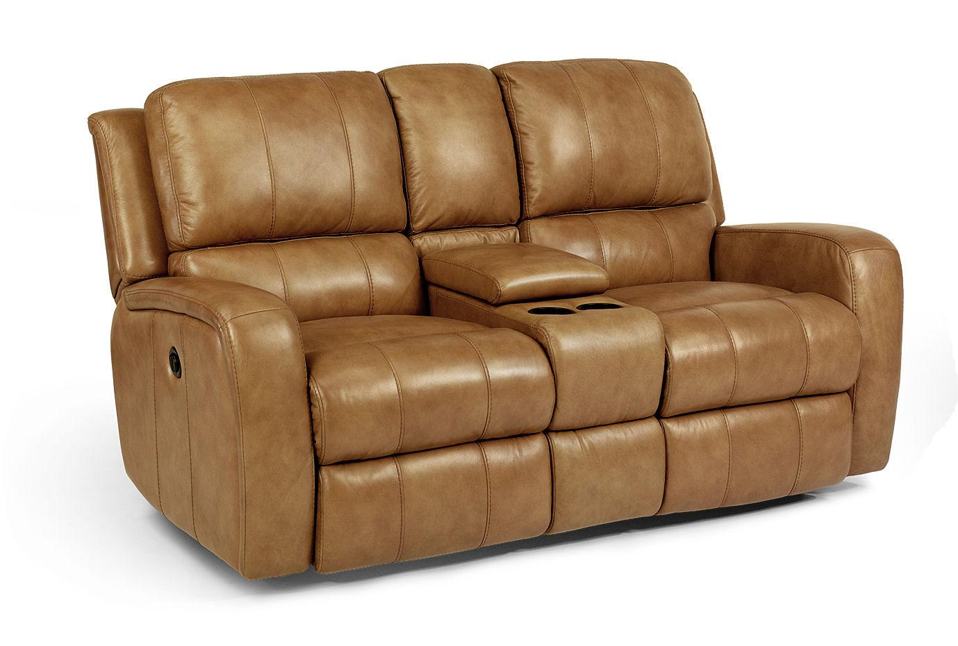 Flexsteel Latitudes-Hammond Power Reclining Love Seat with Console - Item Number: 1157-604P