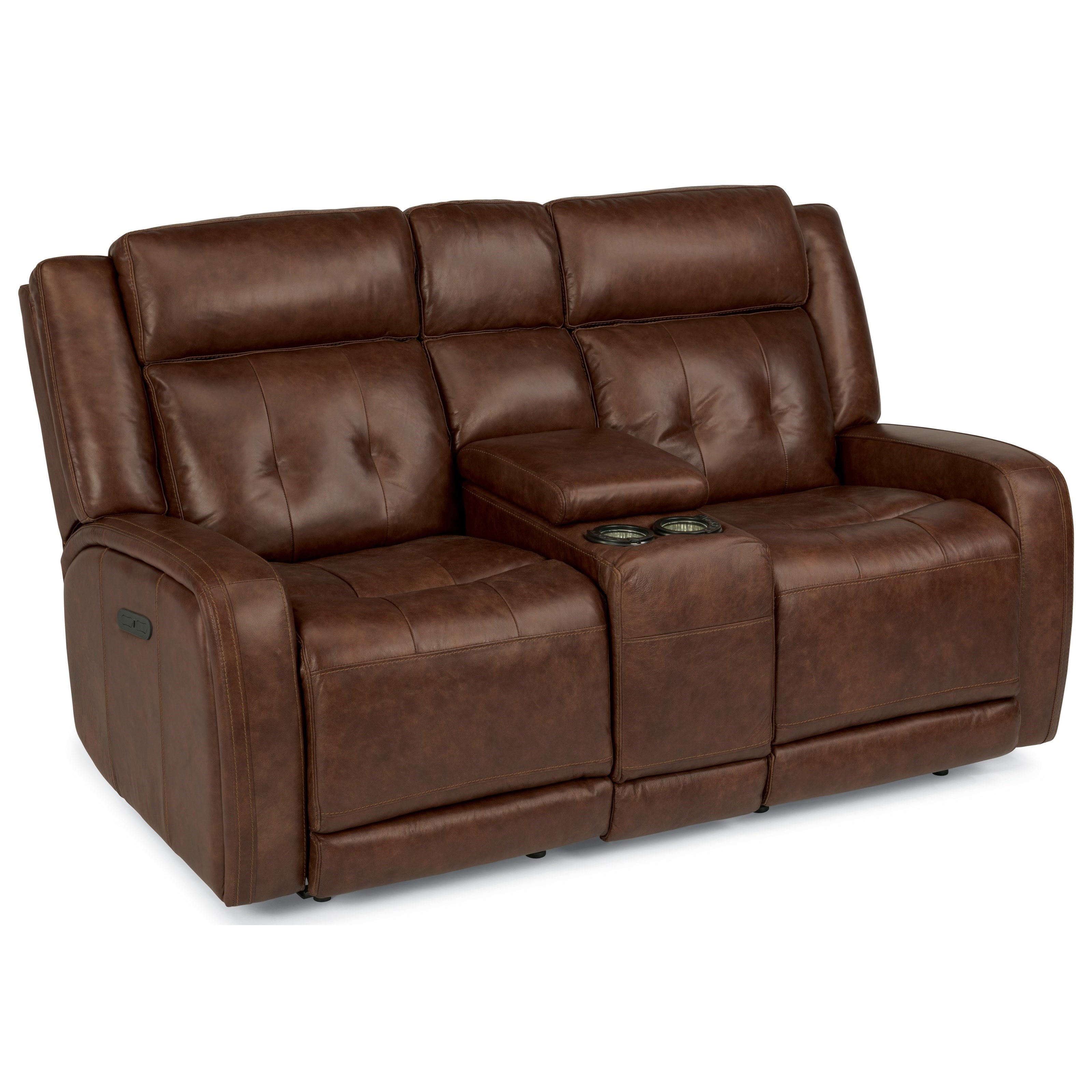 Flexsteel Latitudes-Jude Power Reclining Love Seat with Console - Item Number: 1559-64PH