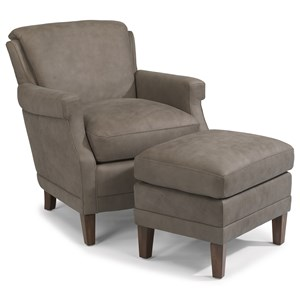Flexsteel Latitudes-Max Leather Chair and Ottoman Set