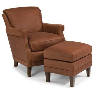 Flexsteel Latitudes-Max Leather Chair and Ottoman Set