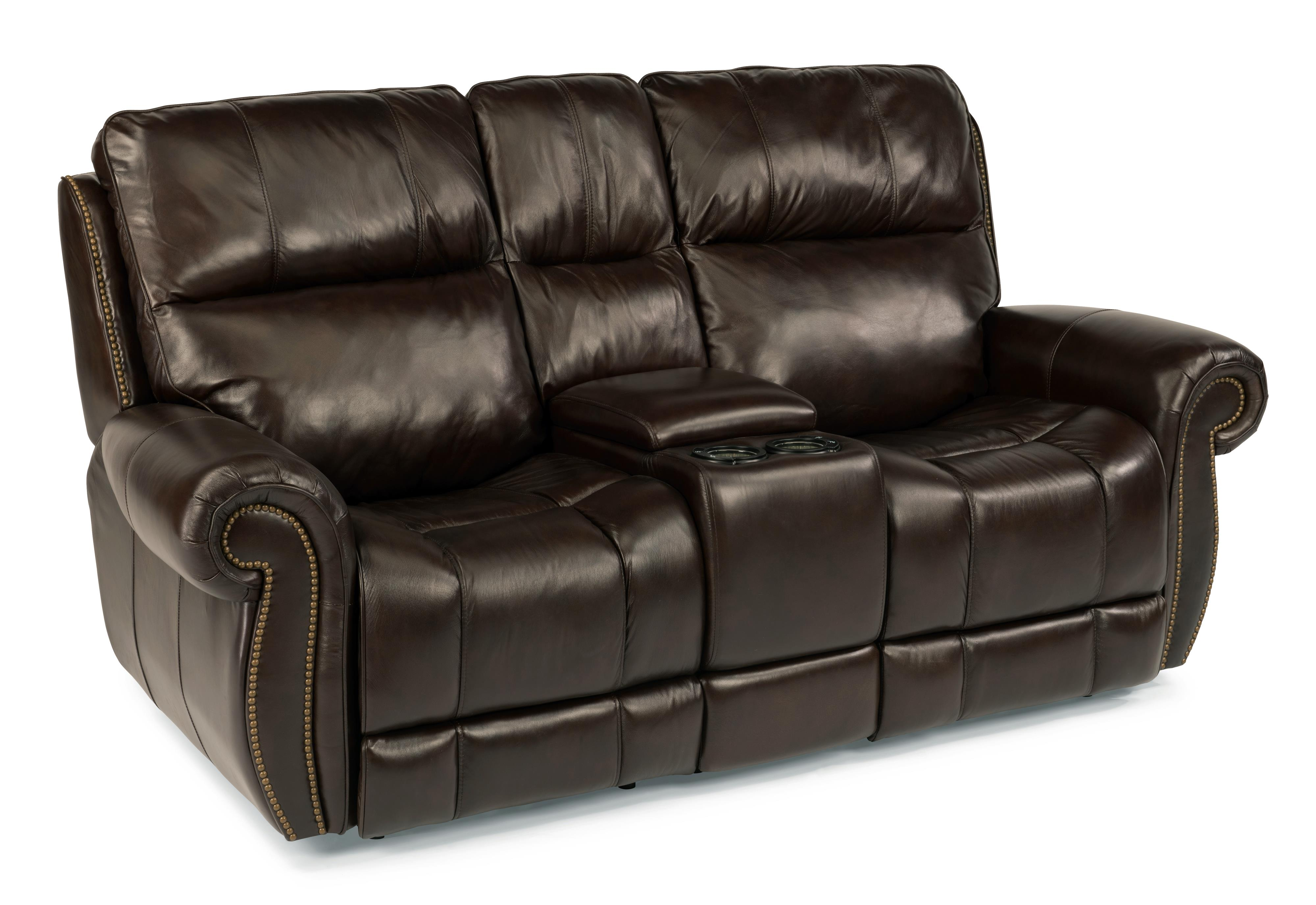 Flexsteel Latitudes - Maxwell Power Gliding Reclining Loveseat w/ Console - Item Number: 1603-604P-555-72