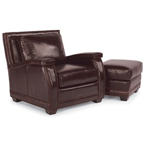 Flexsteel Latitudes-Raleigh Leather Chair and Ottoman
