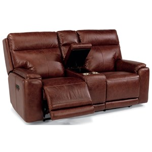 Flexsteel Latitudes-Sienna Power Reclining Love Seat with Console