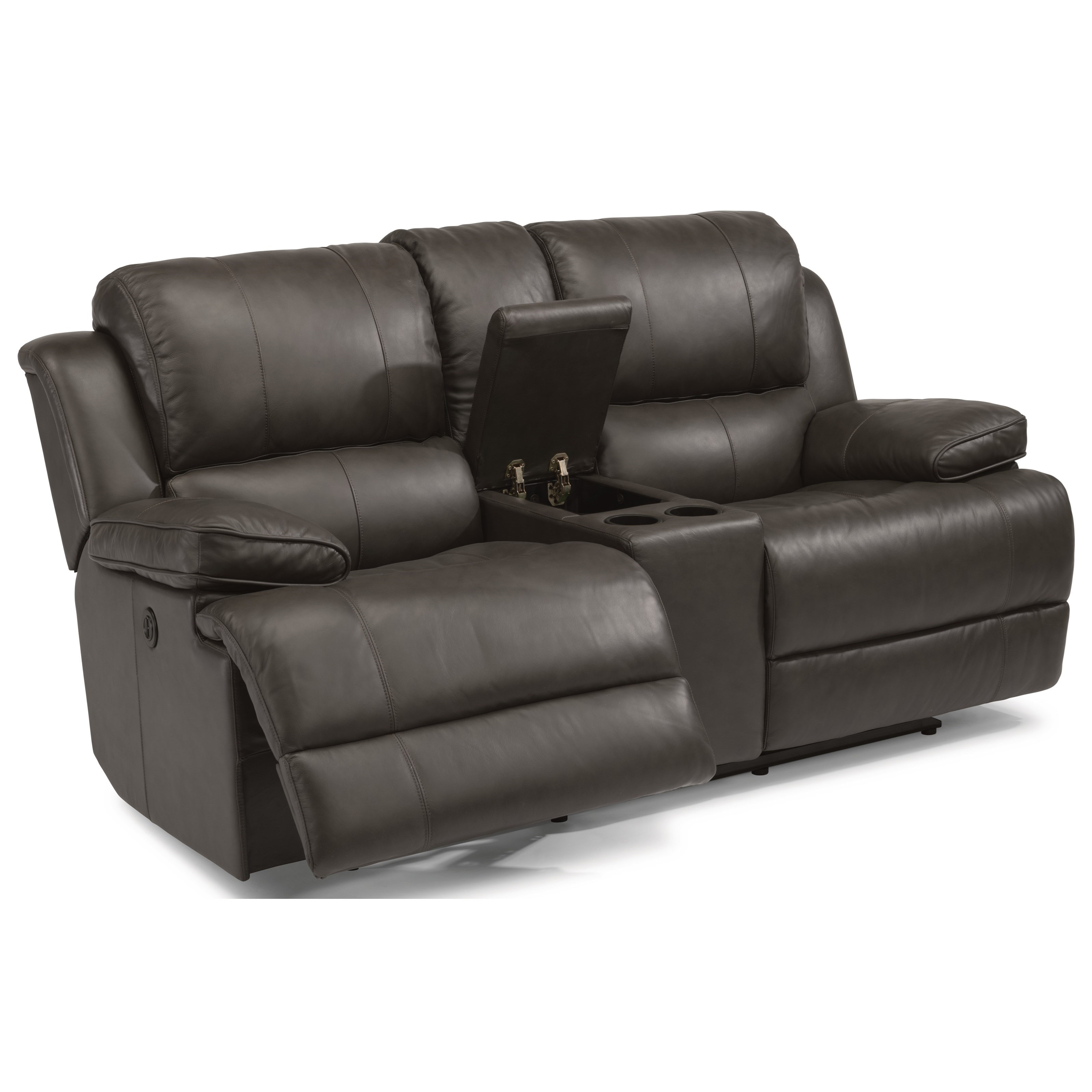 Flexsteel Latitudes-Simon Power Reclining Loveseat with Console - Item Number: 1831-604P-453-70