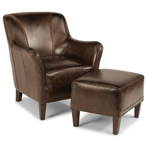 Leather Chair and Ottoman Set