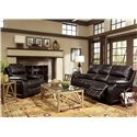 Flexsteel Latitudes - Woodstock Double Reclining Sofa with Pillow Arms and Bucket Seats - 1298-62