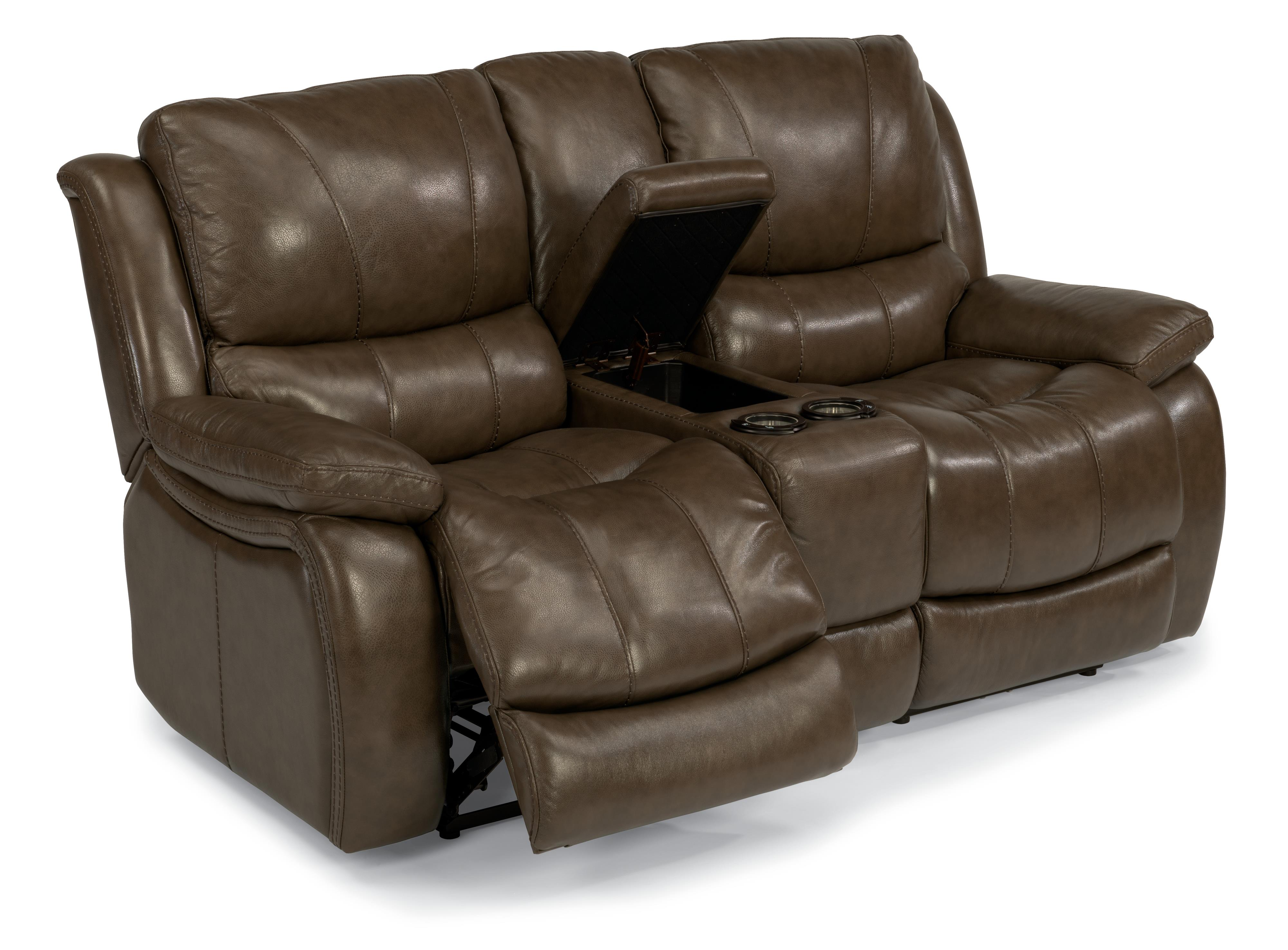 Flexsteel Latitudes-Zandra Power Reclining Loveseat with Console - Item Number: 1343-604P-034-74
