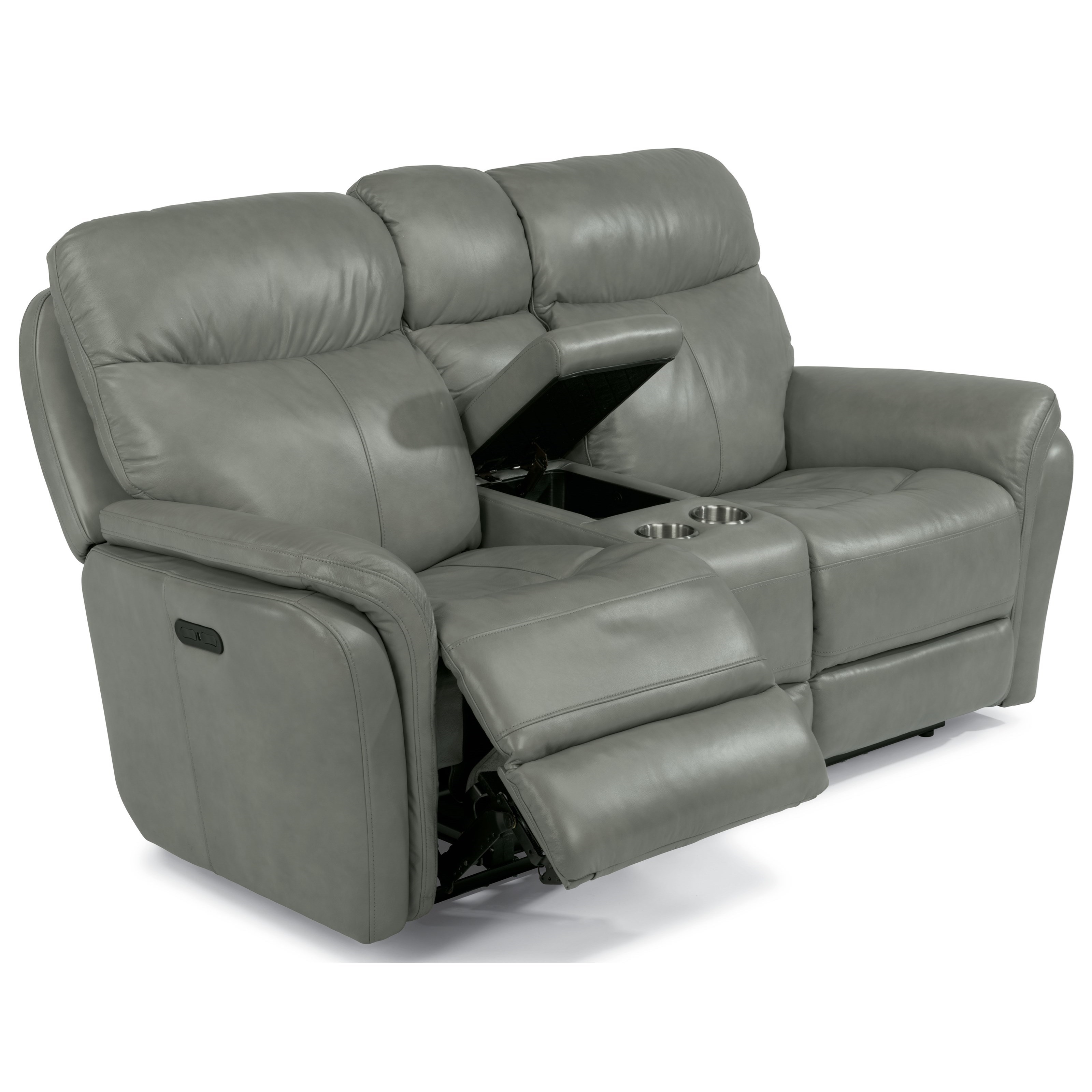 from loveseat leather flexsteel power reclining recliner console center with without
