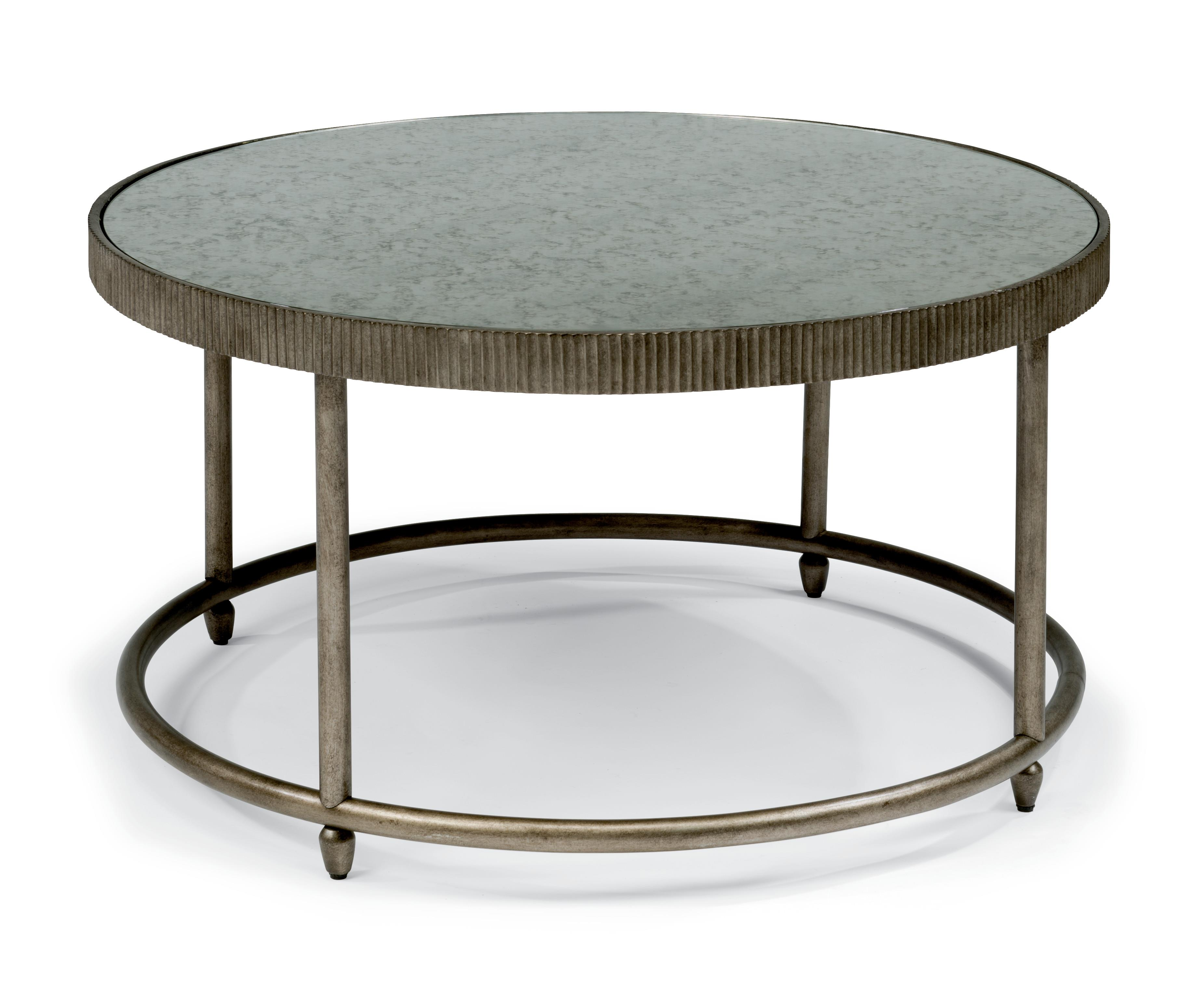 Flexsteel Legacy Transitional Round Cocktail Table With Antiqued Mirror Top H L Stephens
