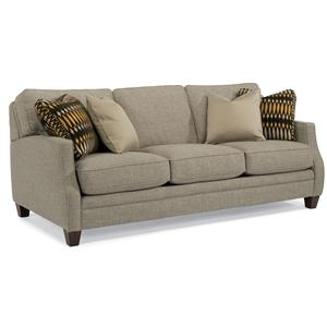 Transitional Sofa with Scalloped Arms