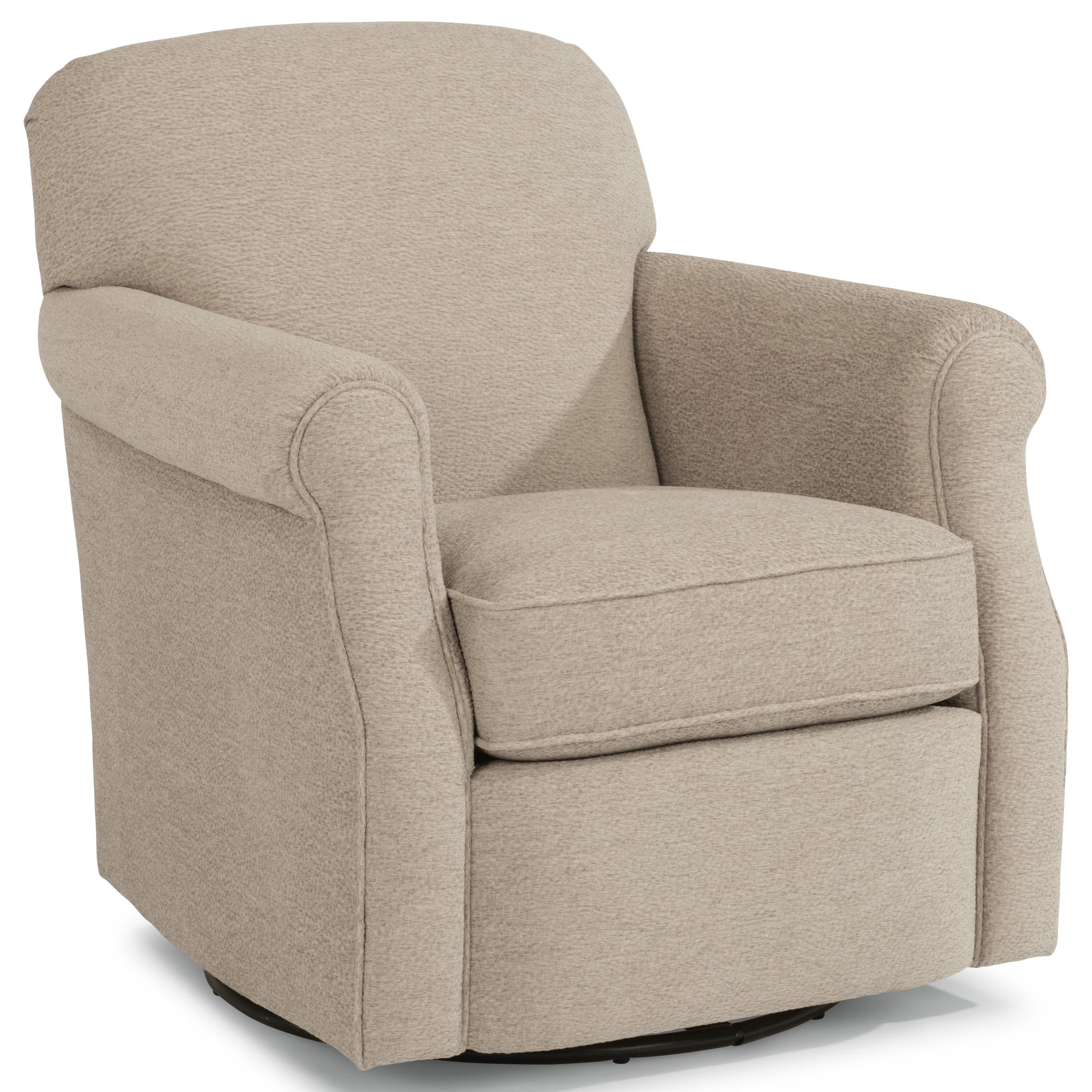 Flexsteel Mabel Casual Swivel Chair With Rolled Arms