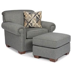 Flexsteel Main Street Traditional Chair with Ottoman