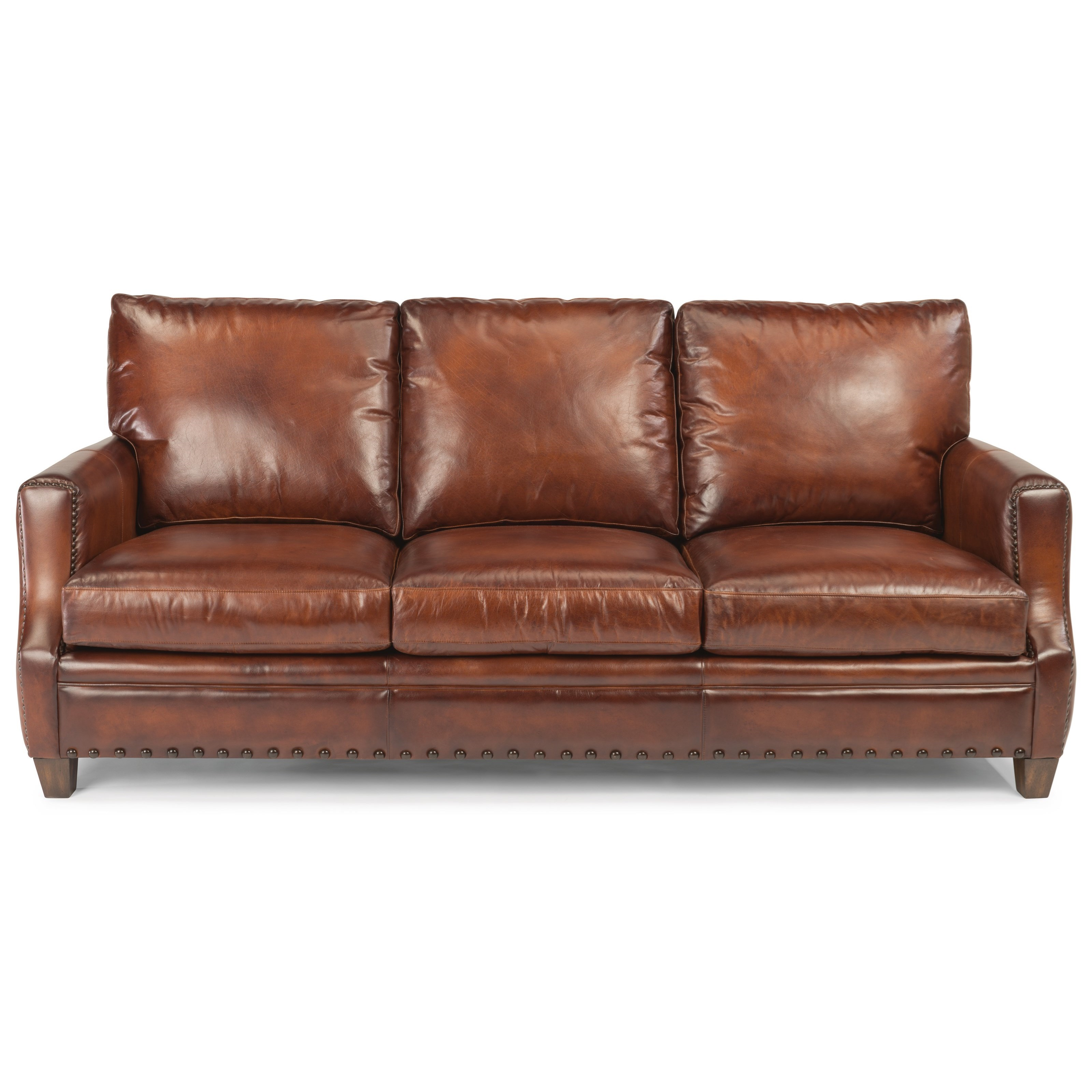 Laudes Maxfield Rustic Leather Sofa With Nailhead Trim By Flexsteel At Furniture And Liancemart