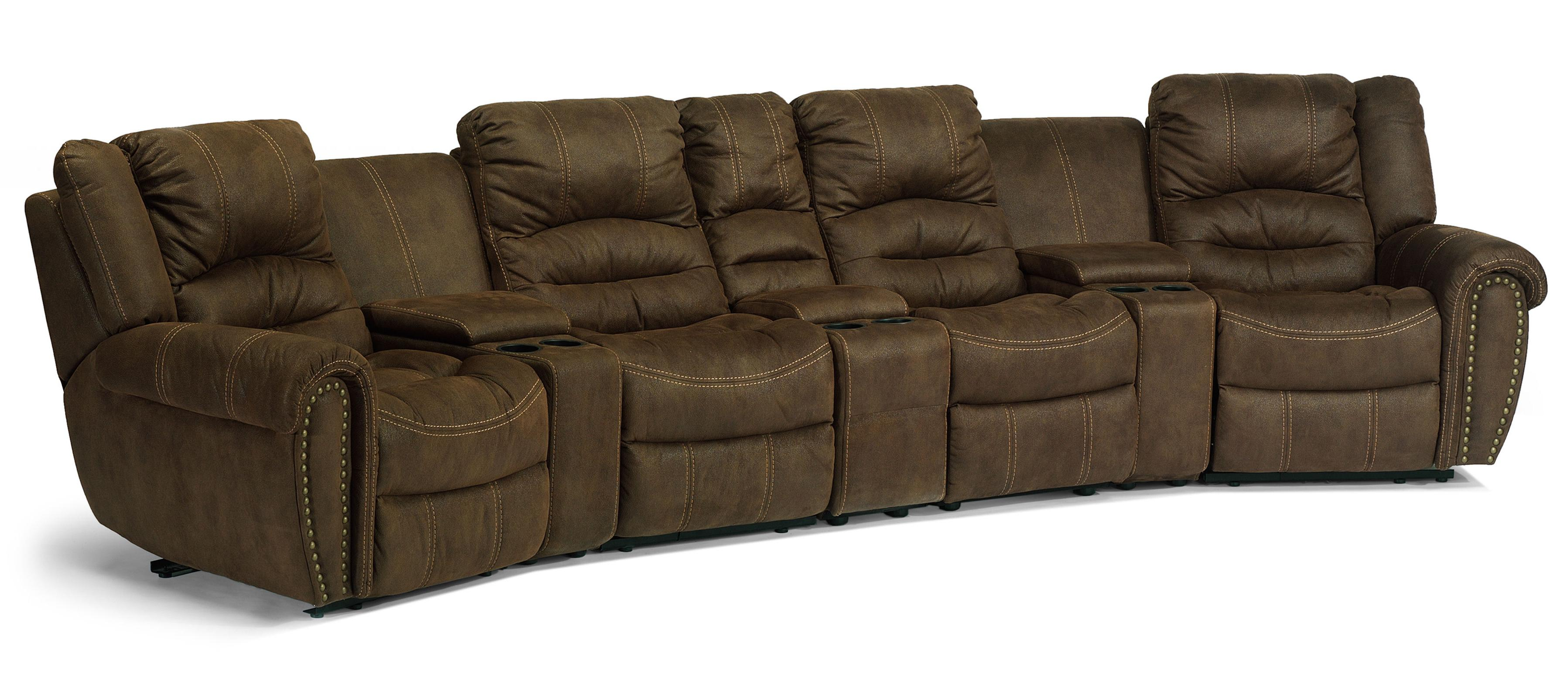 Flexsteel latitudes new town curved reclining sectional sofa with storage consoles olinde 39 s Loveseats with console