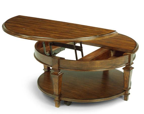 Flexsteel Oakbrook Round Wood Cocktail Table With Lift Top