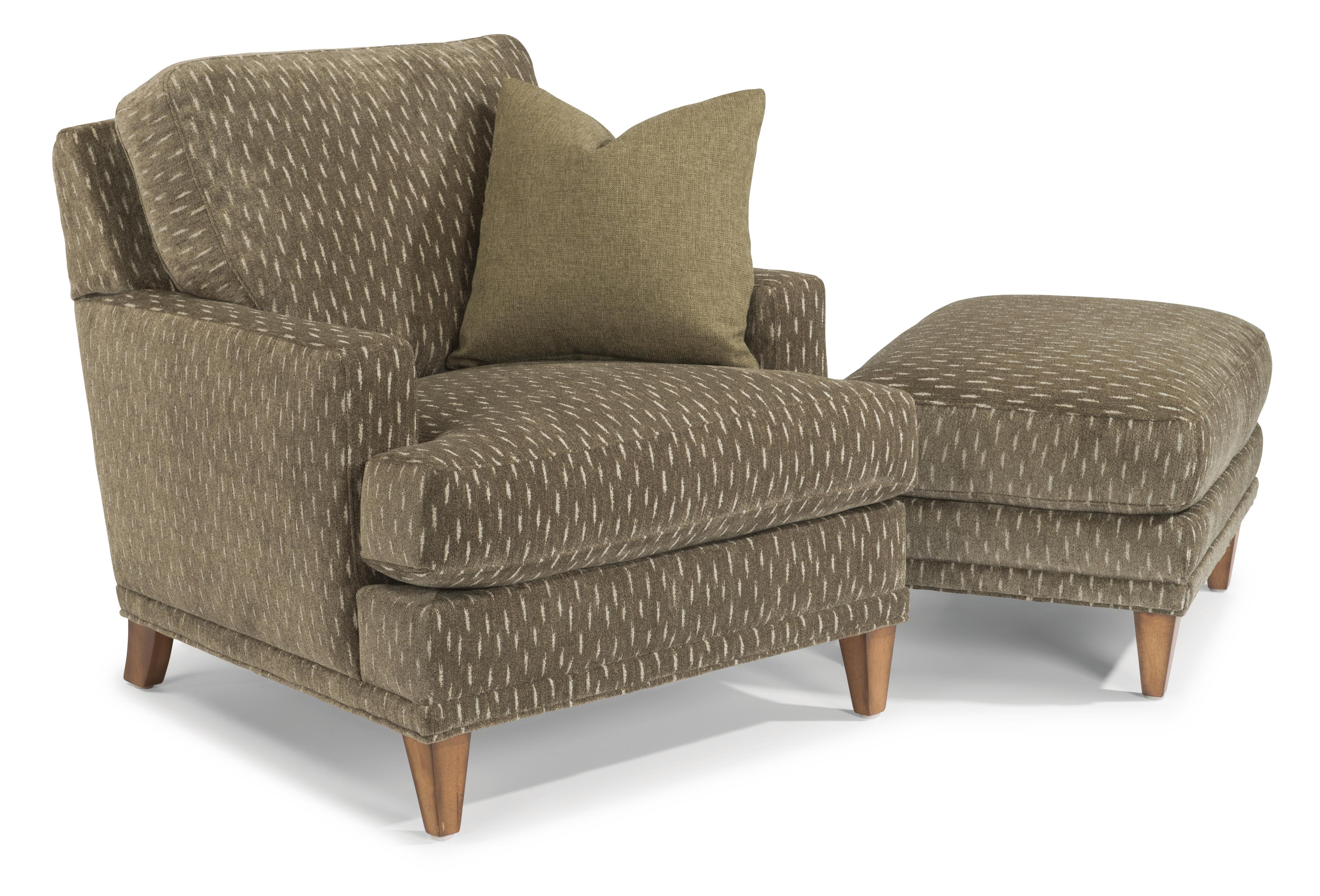 Flexsteel Ocean Chair & Ottoman Set (No Nails) - Item Number: 7368-10+7368-08-051-20