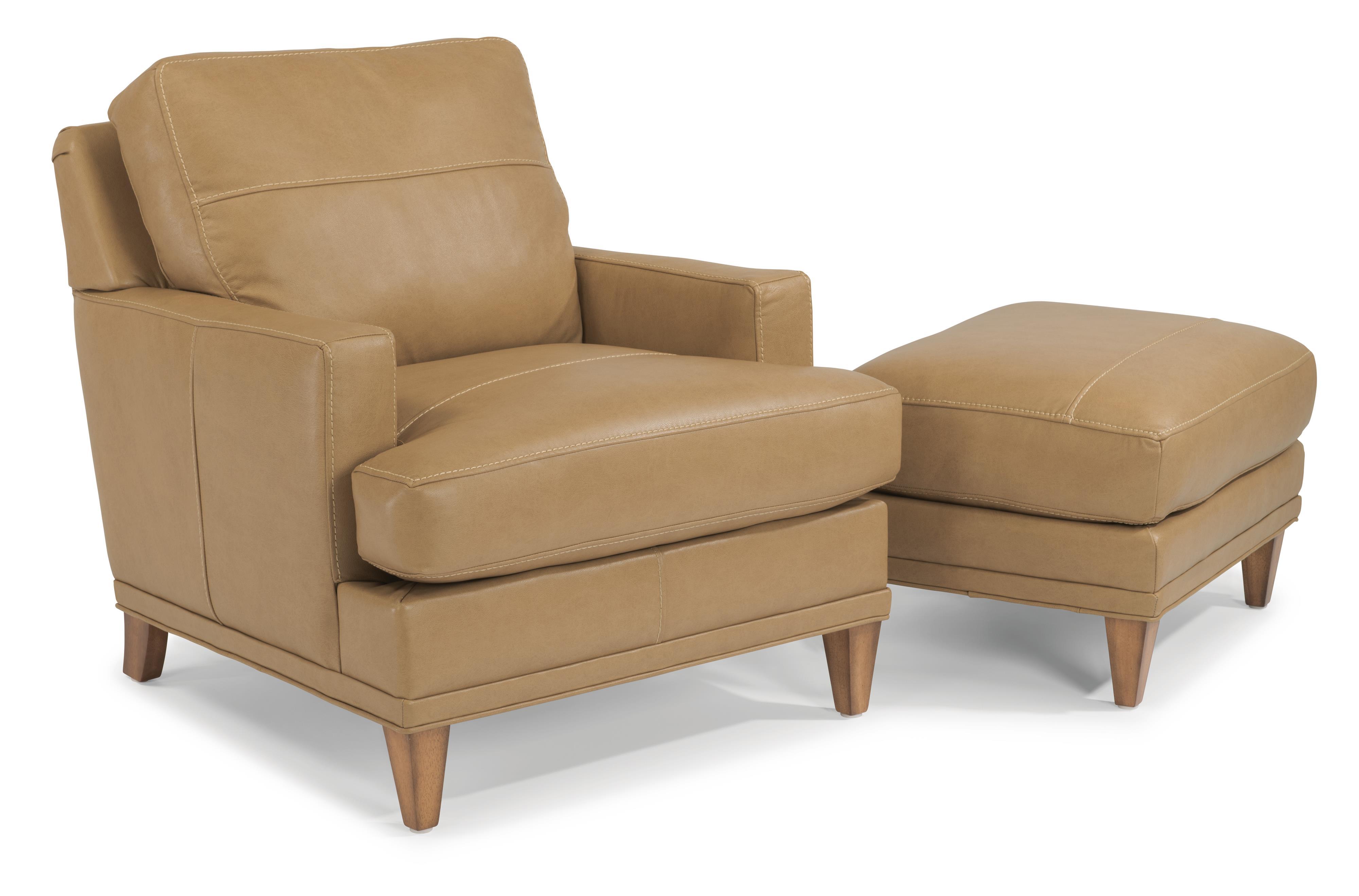 Flexsteel Ocean Chair & Ottoman Set (No Nails) - Item Number: B3368-10+B3368-08-174-80