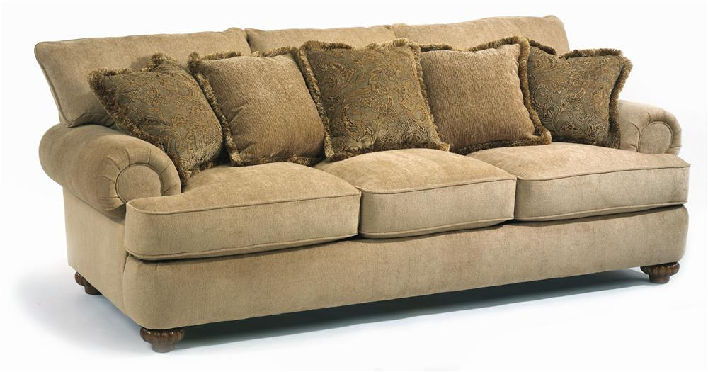 Flexsteel Patterson Sofa - Item Number: 7321-31 - Flexsteel Patterson Stationary Sofa With Rolled Arms - Wayside