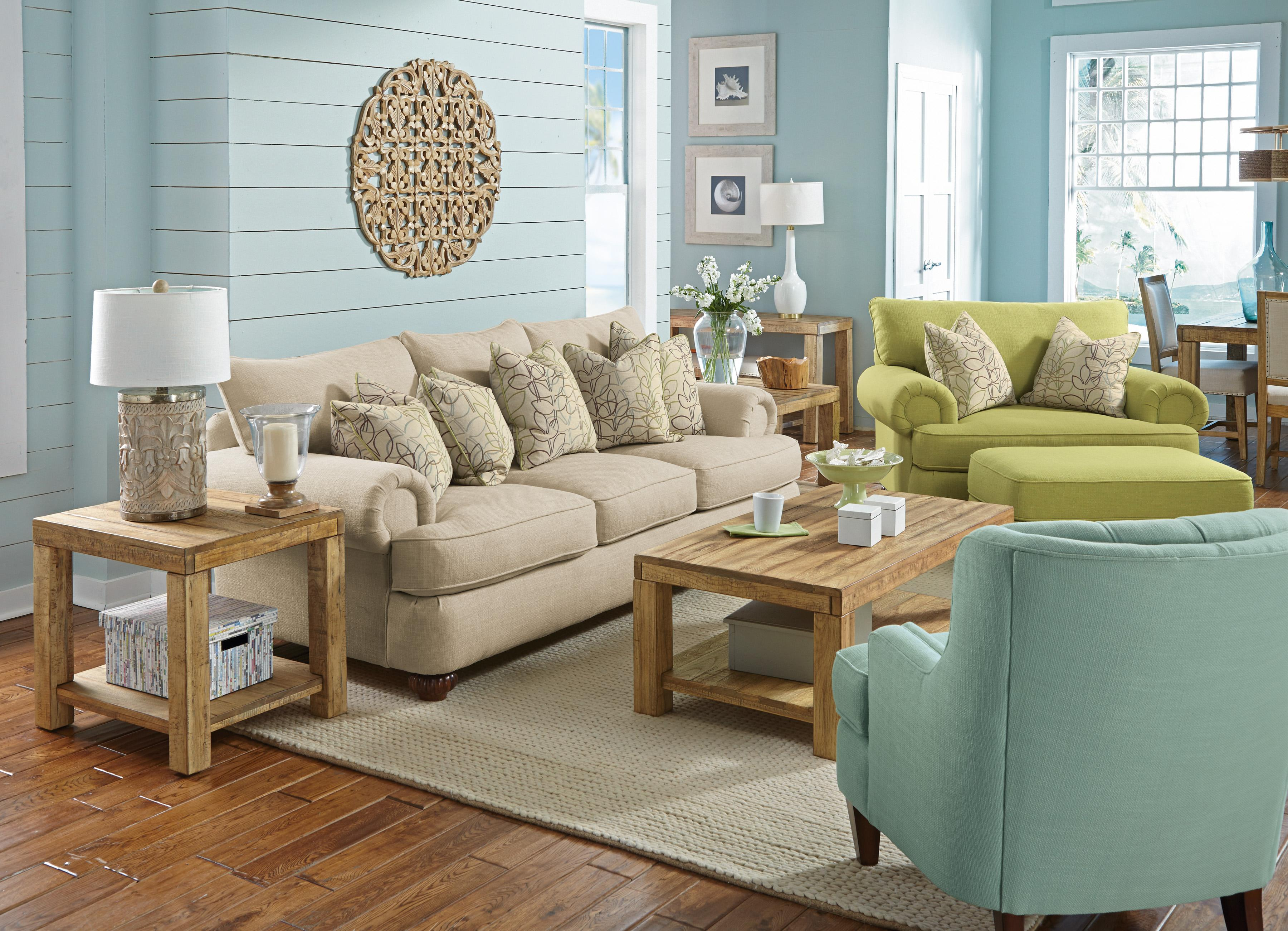 Flexsteel Patterson Stationary Sofa With Rolled Arms