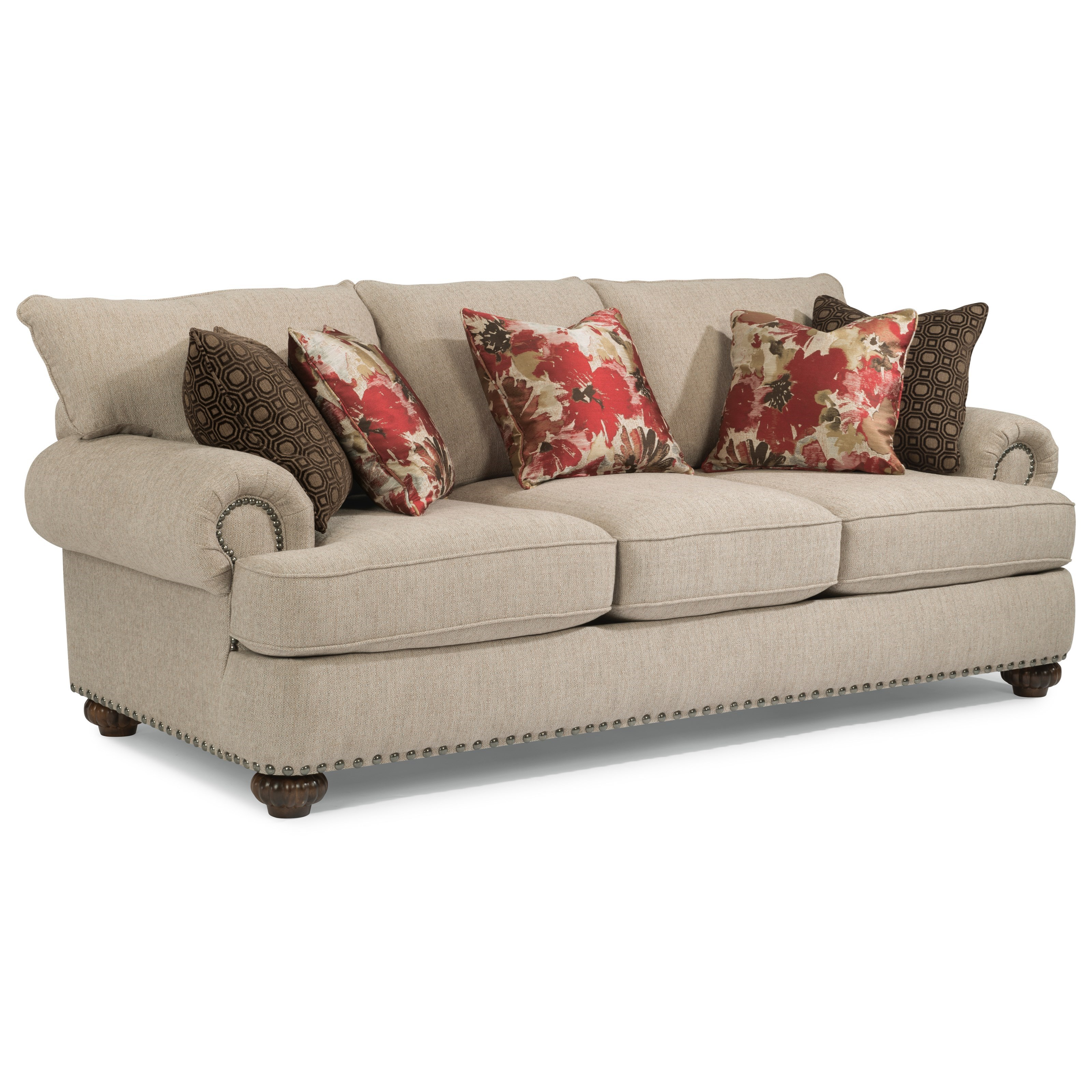 Flexsteel Patterson Stationary Sofa With Nailhead Trim Wayside Furniture Sofas
