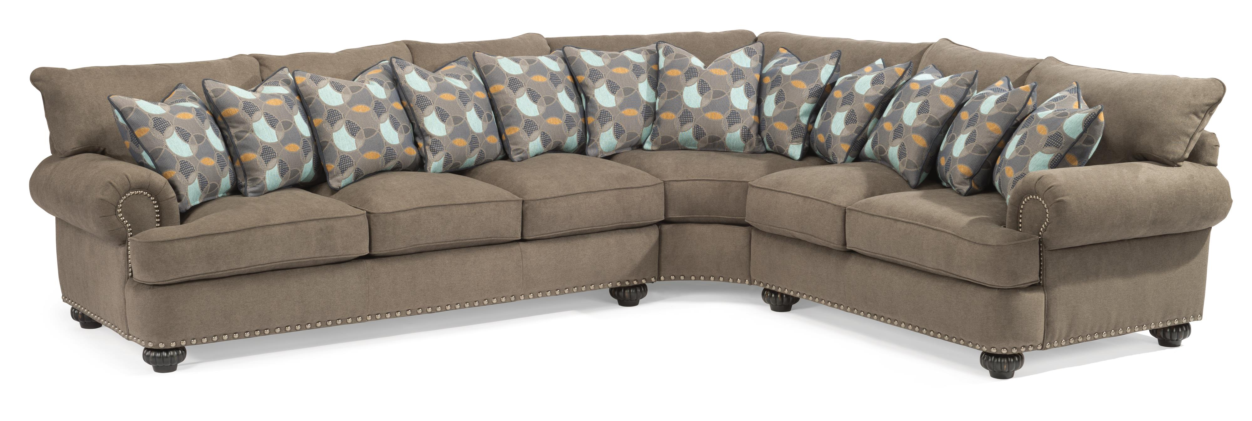 Flexsteel Patterson  3 Pc Sectional Sofa w/ Nails - Item Number: 7322-37+23+28