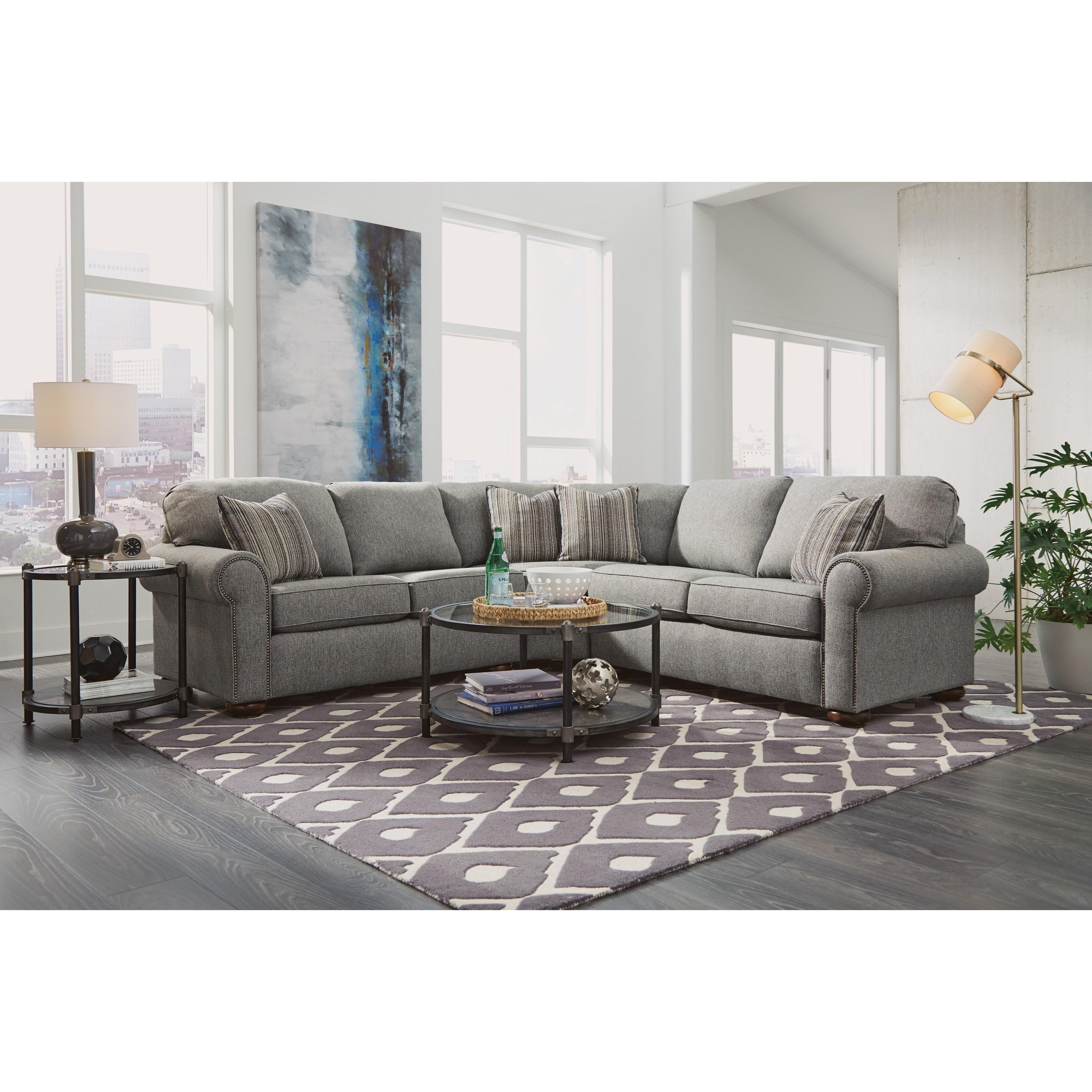 Leather Sofas Preston Lancashire: Flexsteel Preston Traditional 4 Seat Sectional Sofa With