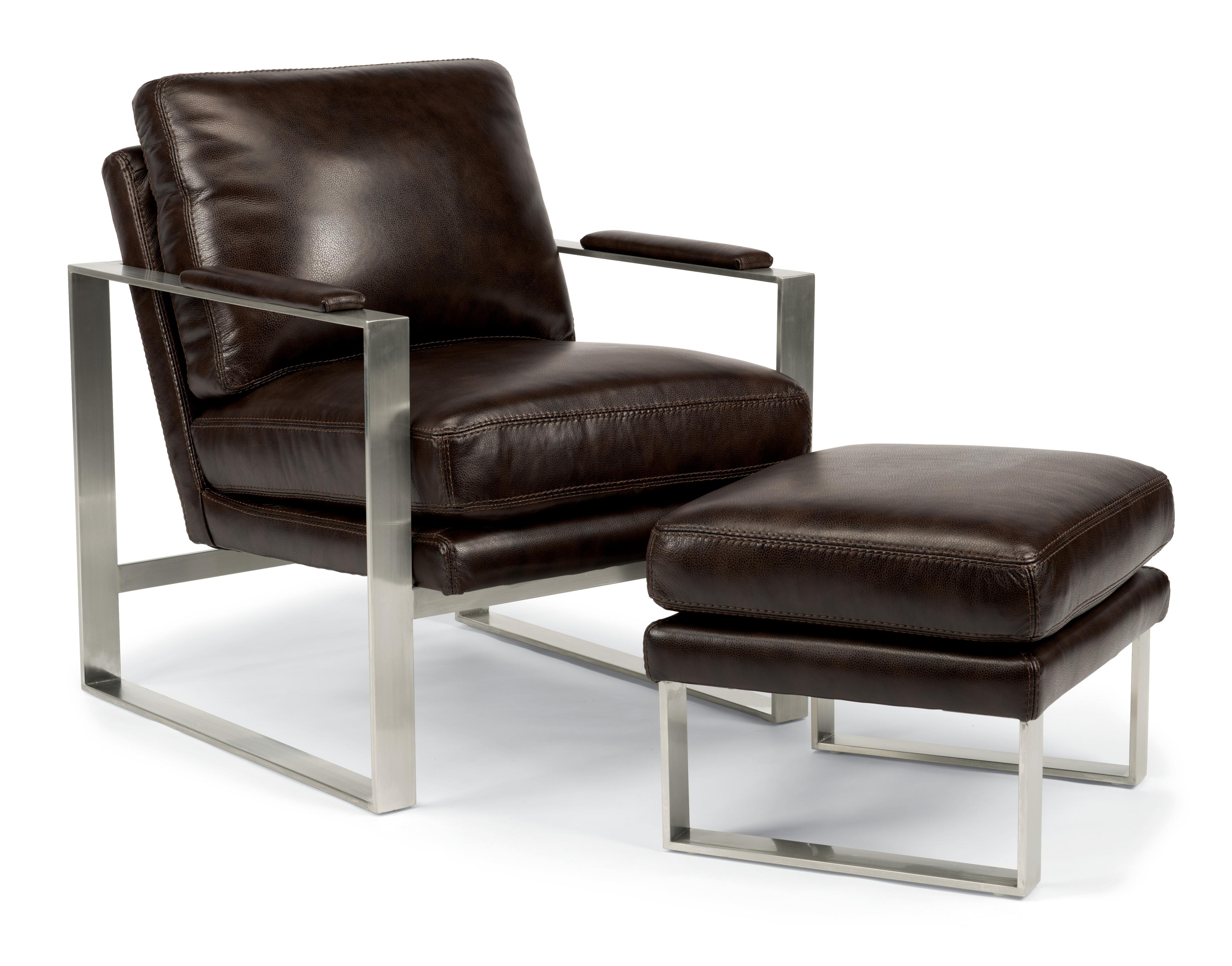 Latitudes   Sixty Six Contemporary Metal Framed Chair And Ottoman By  Flexsteel