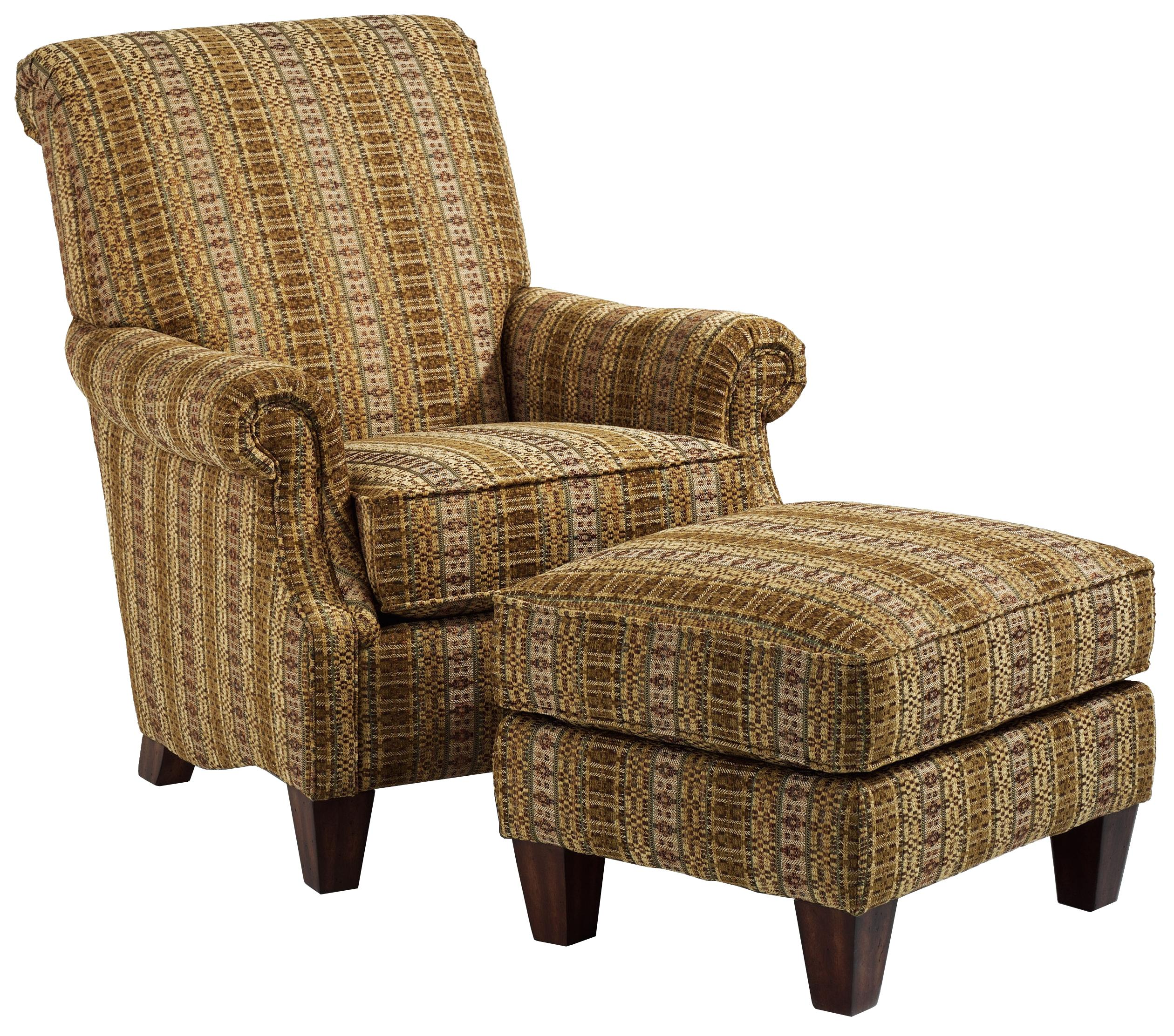 Flexsteel Stafford Traditional Styled Chair and Ottoman Set for