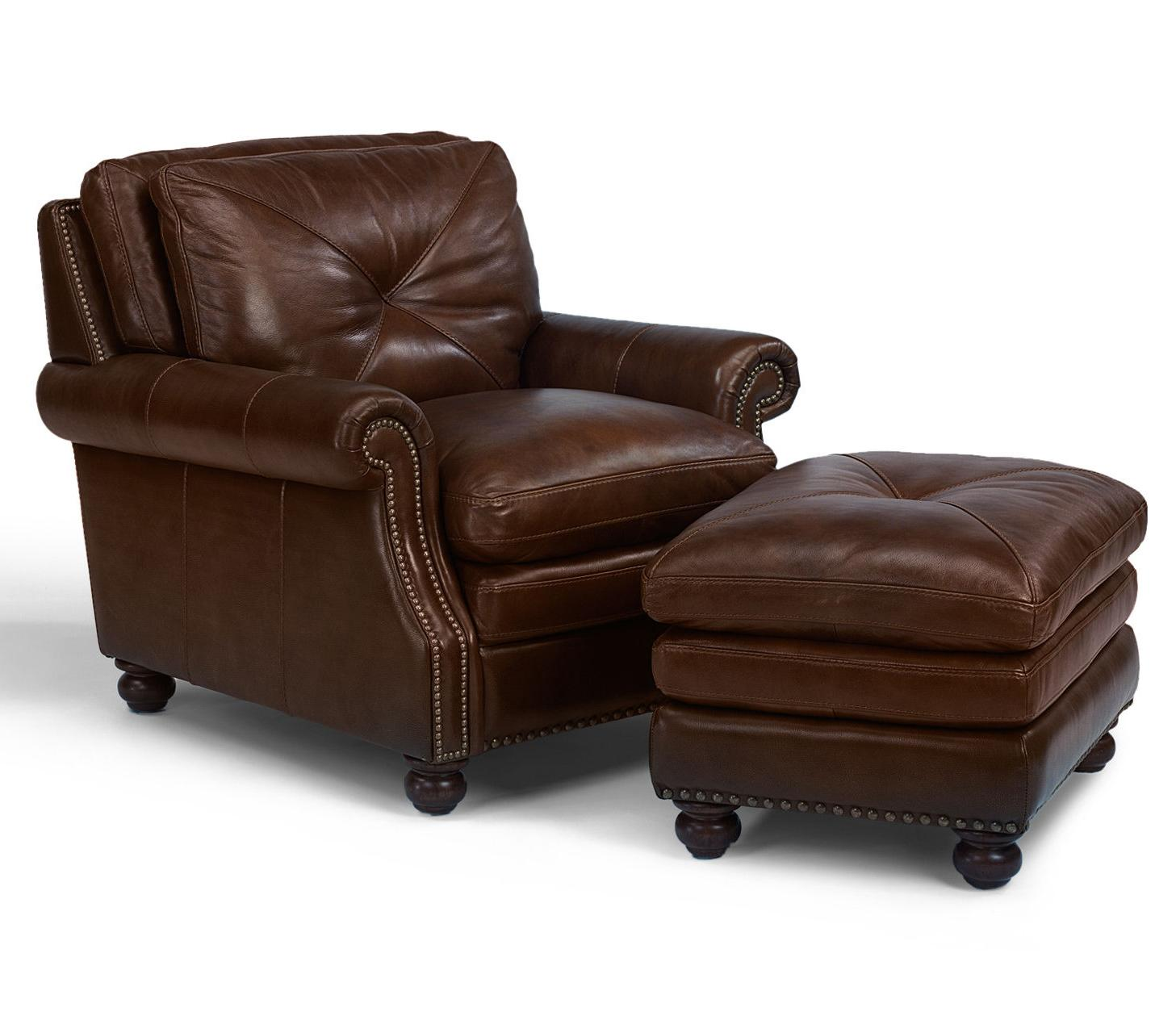 Flexsteel Laudes Suffolk Leather Chair And Ottoman Combination Set With Nailhead Trim Ahfa Dealer Locator